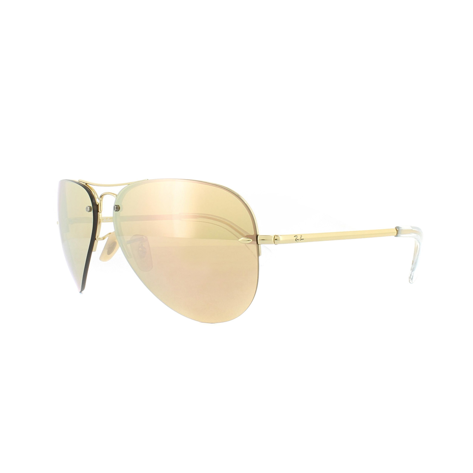37453a2b988 Details about Ray-Ban Sunglasses 3449 001 2Y Gold Copper Mirror