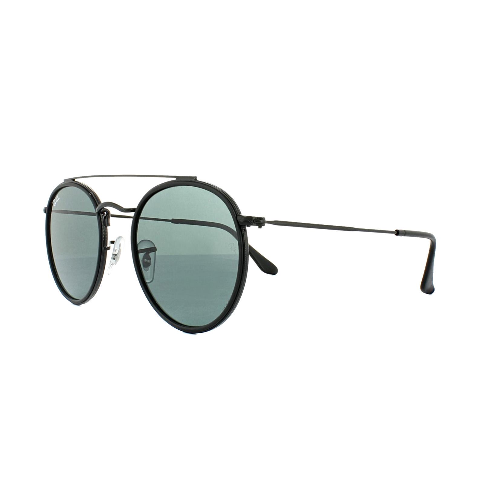 a6687eff5 Sentinel Ray-Ban Sunglasses Round Double Bridge 3647N 002/R5 Black Blue Grey