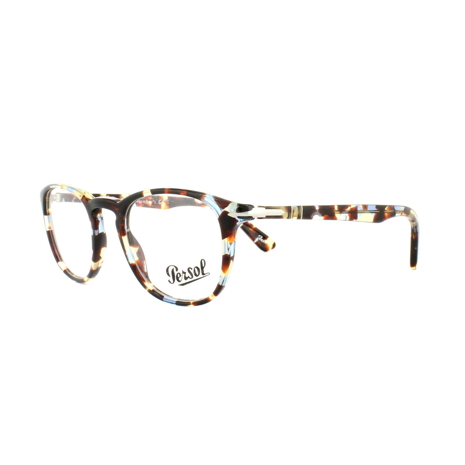 ba7df6264b Sentinel Persol Glasses Frames PO 3143V 1058 Havana Azure Brown Mens 47mm