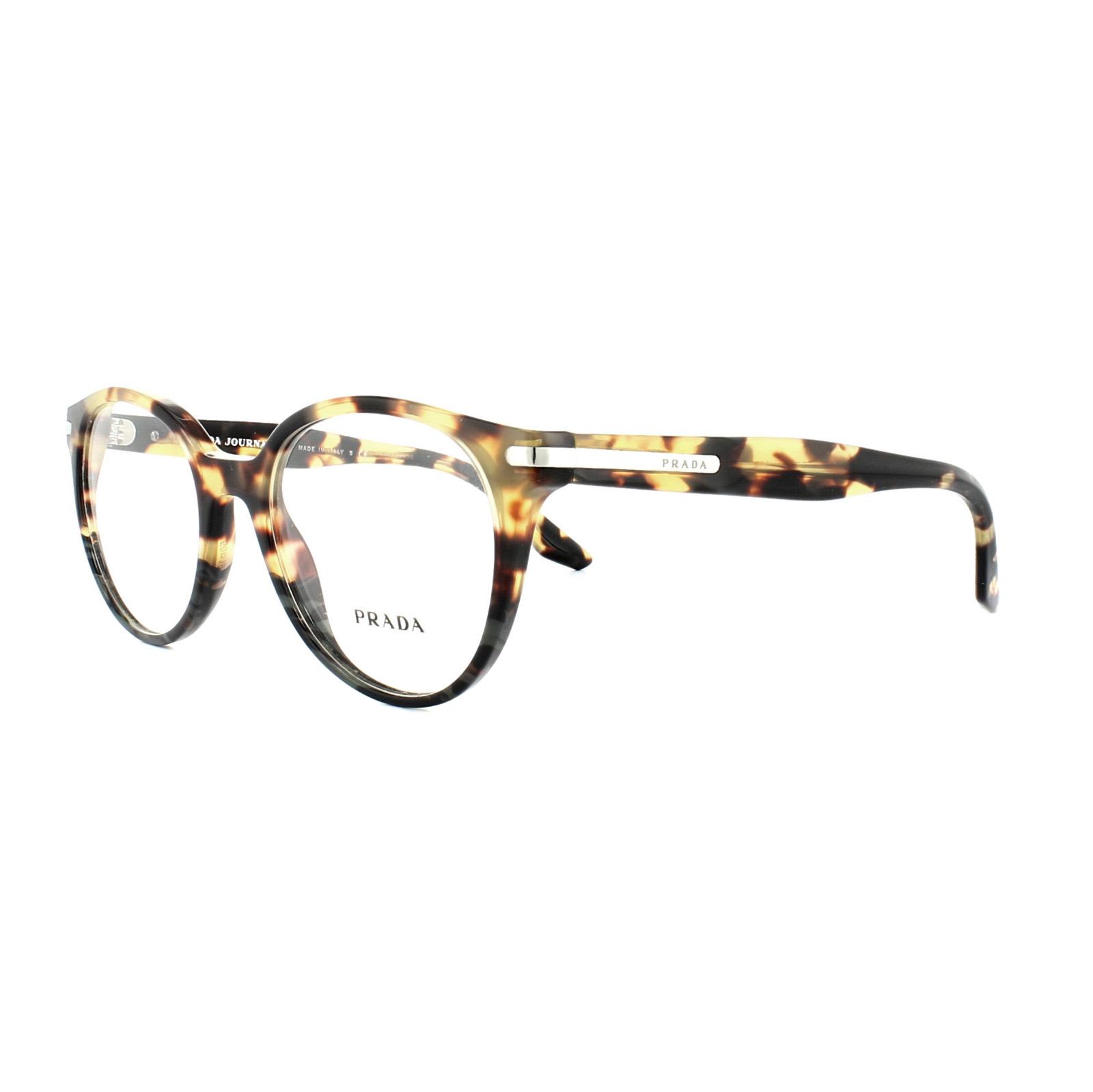 Prada Glasses Frames PR 07TV U6O1O1 Medium Havana Spotted Green Mens ...