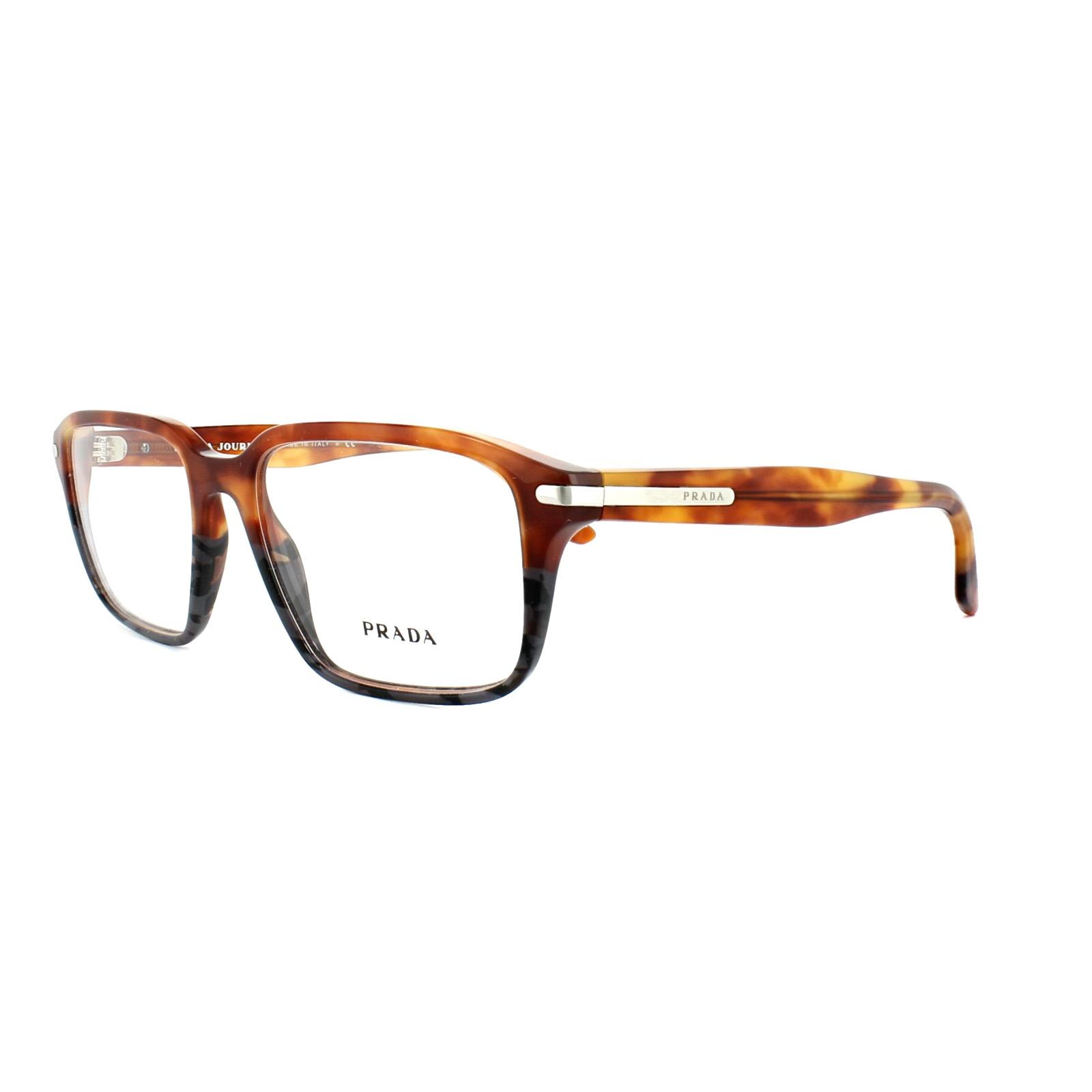 a3eca9cbccf Sentinel Prada Glasses Frames PR 09TV UFN1O1 Light Havana Spotted Grey Mens  55mm