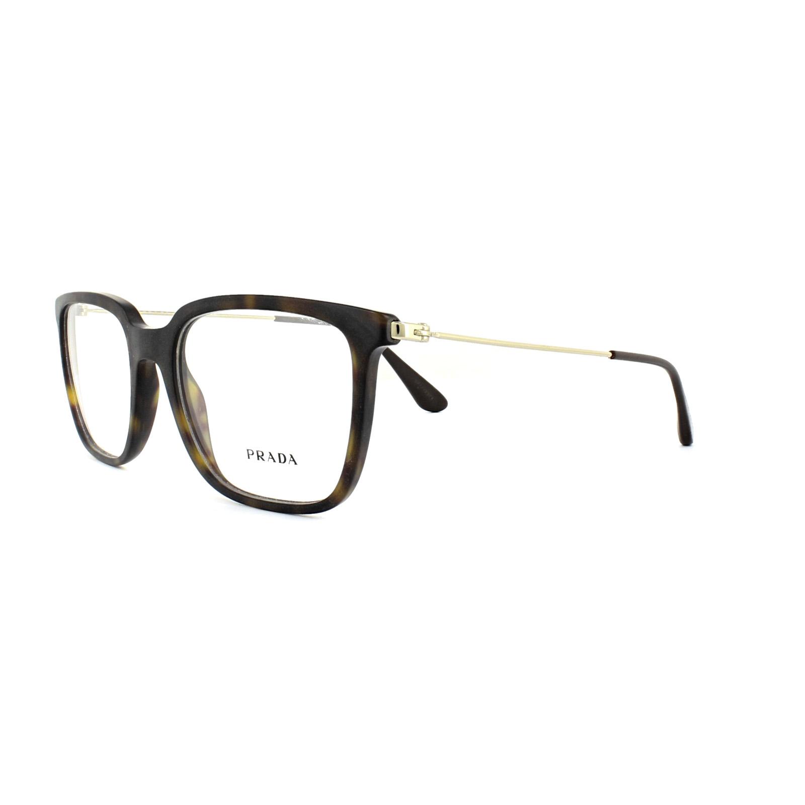01b8ecec9b0 Sentinel Prada Glasses Frames PR 17TV HAQ1O1 Matt Havana Gold Mens 53mm