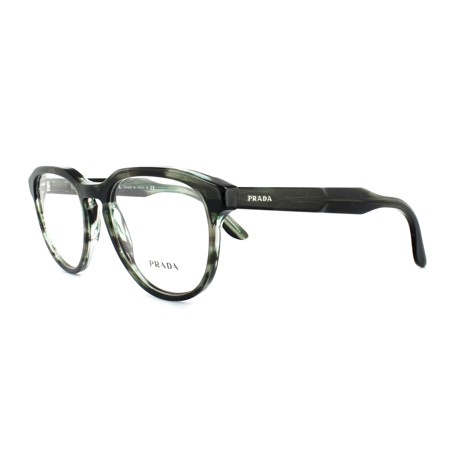 c8f5fdee577 Sentinel Prada Glasses Frames PR 18SV UEP1O1 Striped Grey Green Mens 51mm