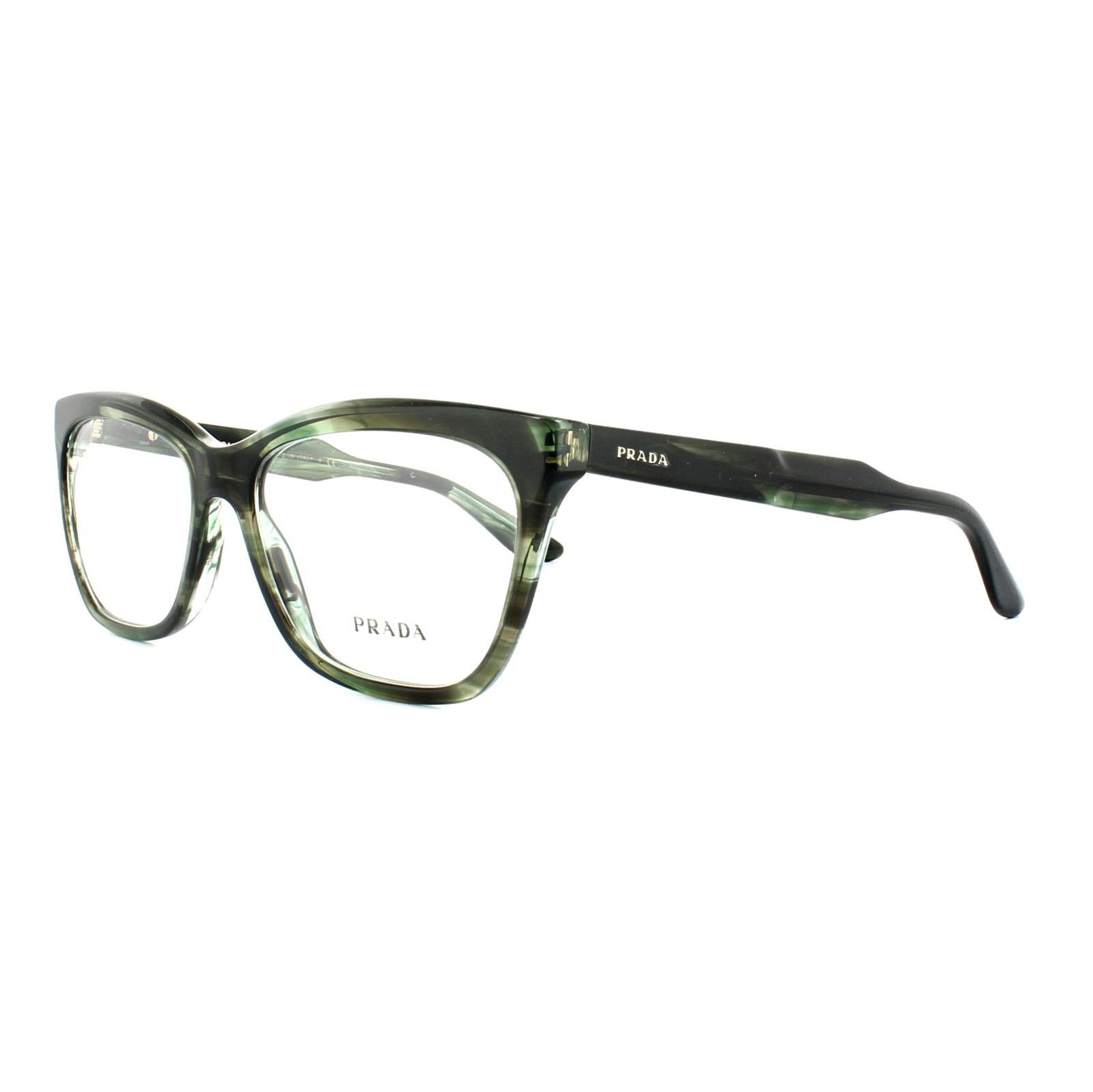 Prada Glasses Frames PR 24SV UEP1O1 Striped Grey Green Womens 55mm ...
