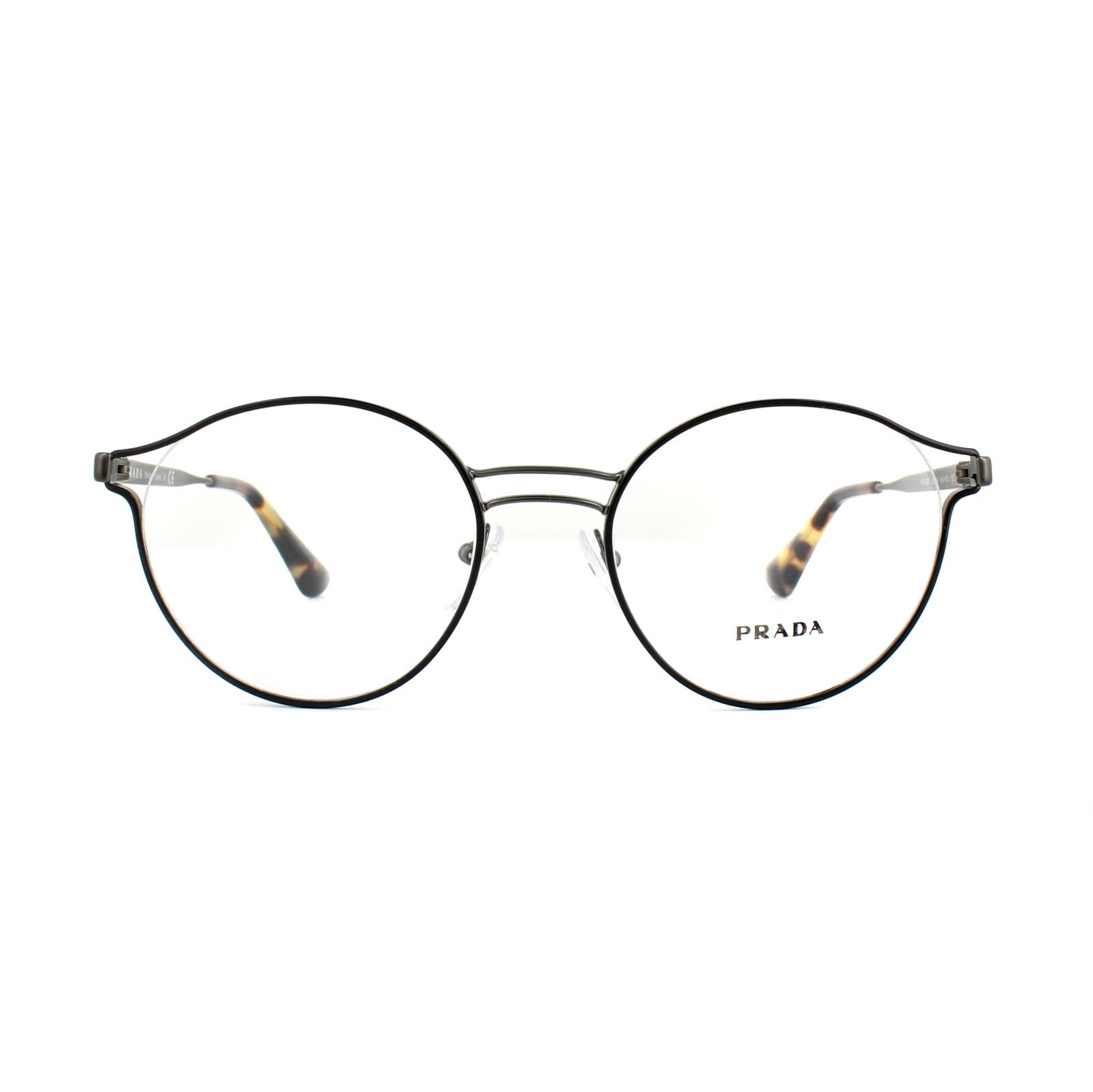 ef95f6aae3e Sentinel Prada Glasses Frames PR 62TV VHJ1O1 Black Antique Lead Womens 52mm