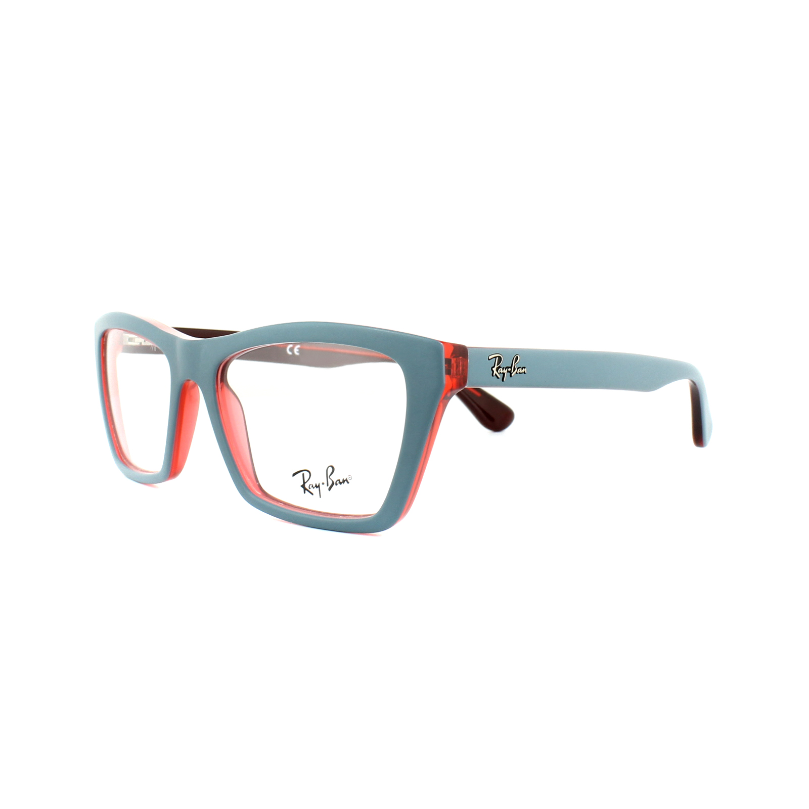 Ray-Ban Glasses Frames RX 5316 5388 Matt Oil Blue on Transparent Red ...