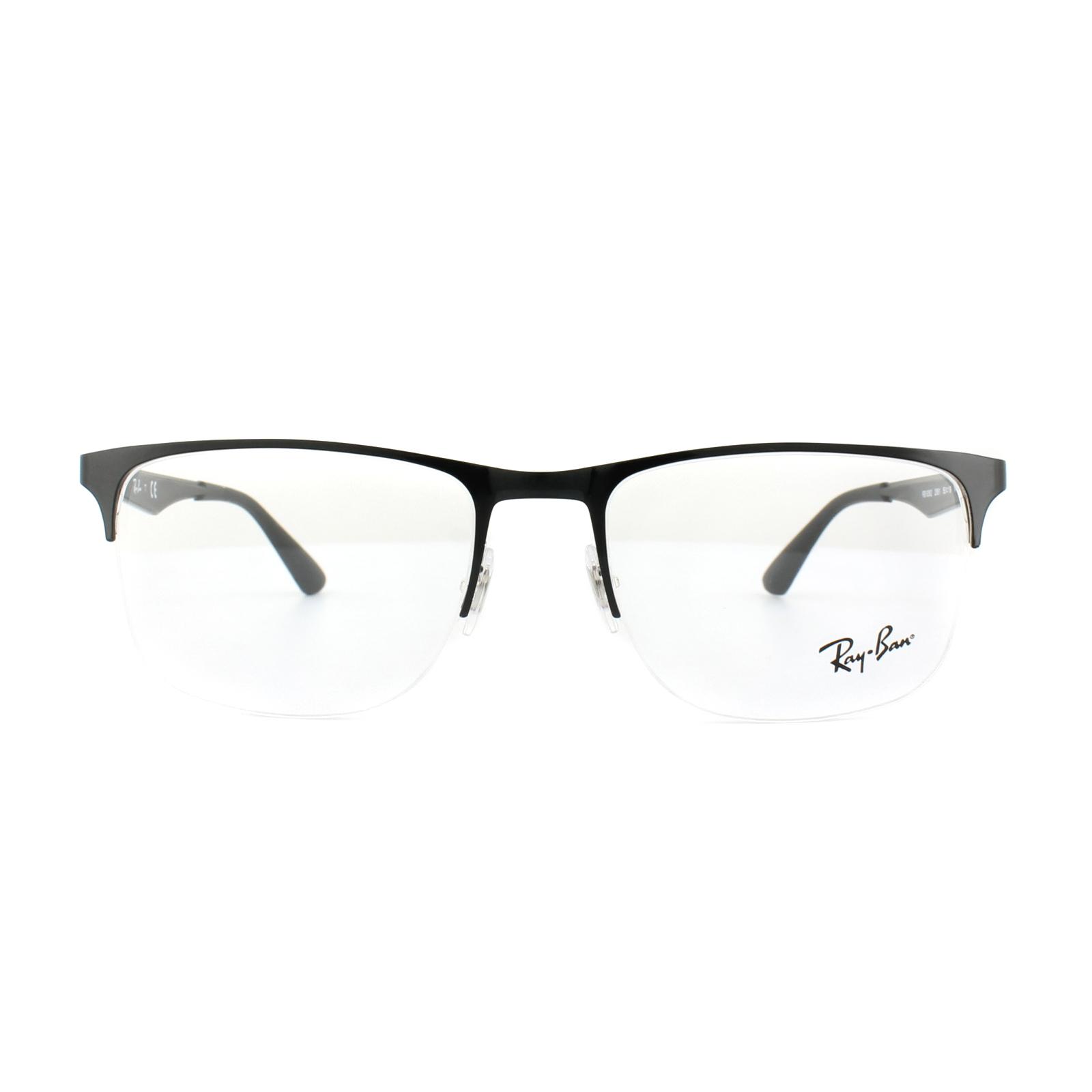 f76a859d90f Sentinel Ray-Ban Glasses Frames RX 6362 2861 Silver Top Shiny Black Mens  55mm