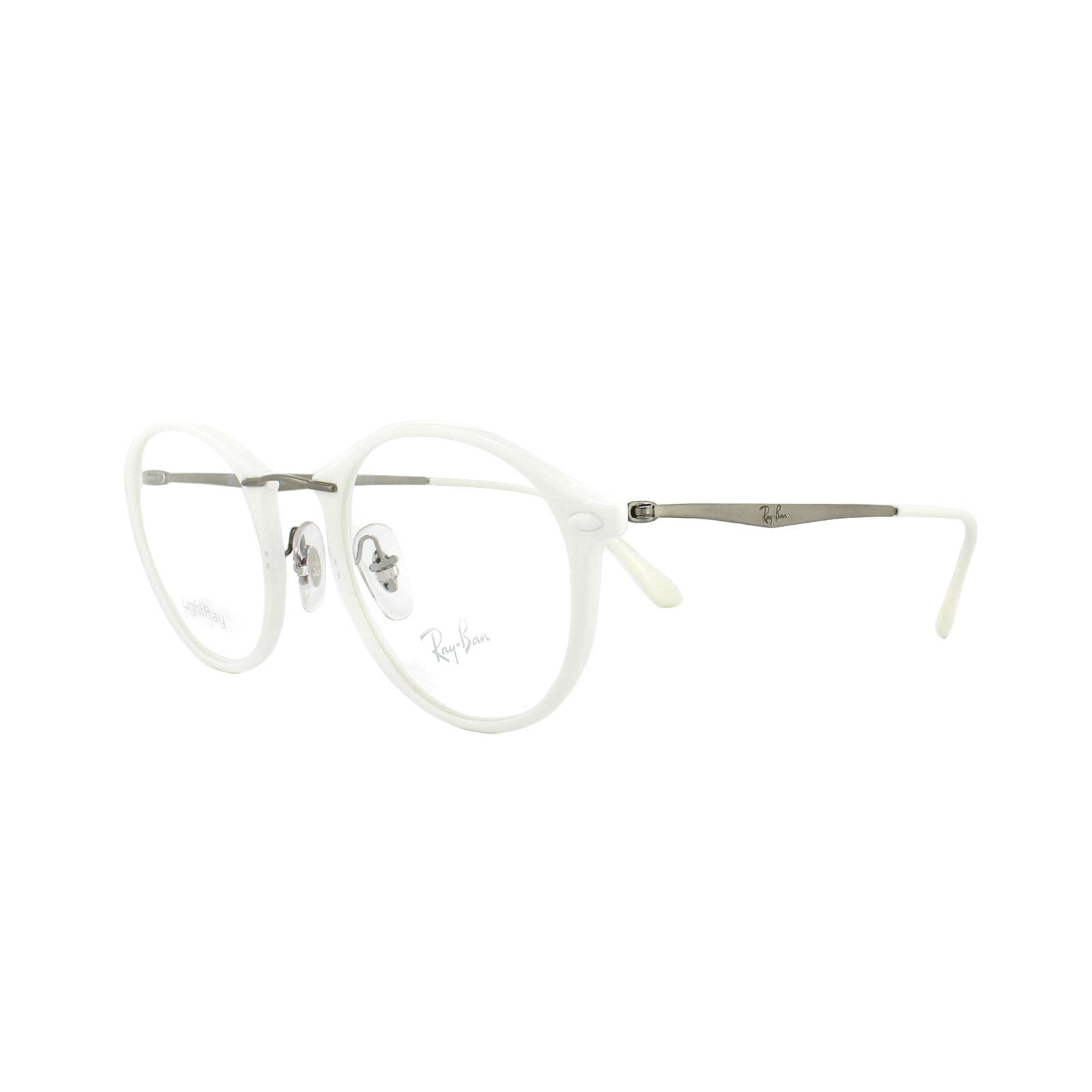 322f4dd21d3 Sentinel Ray-Ban Glasses Frames RX 7073 5618 Shiny White Mens Womens 47mm