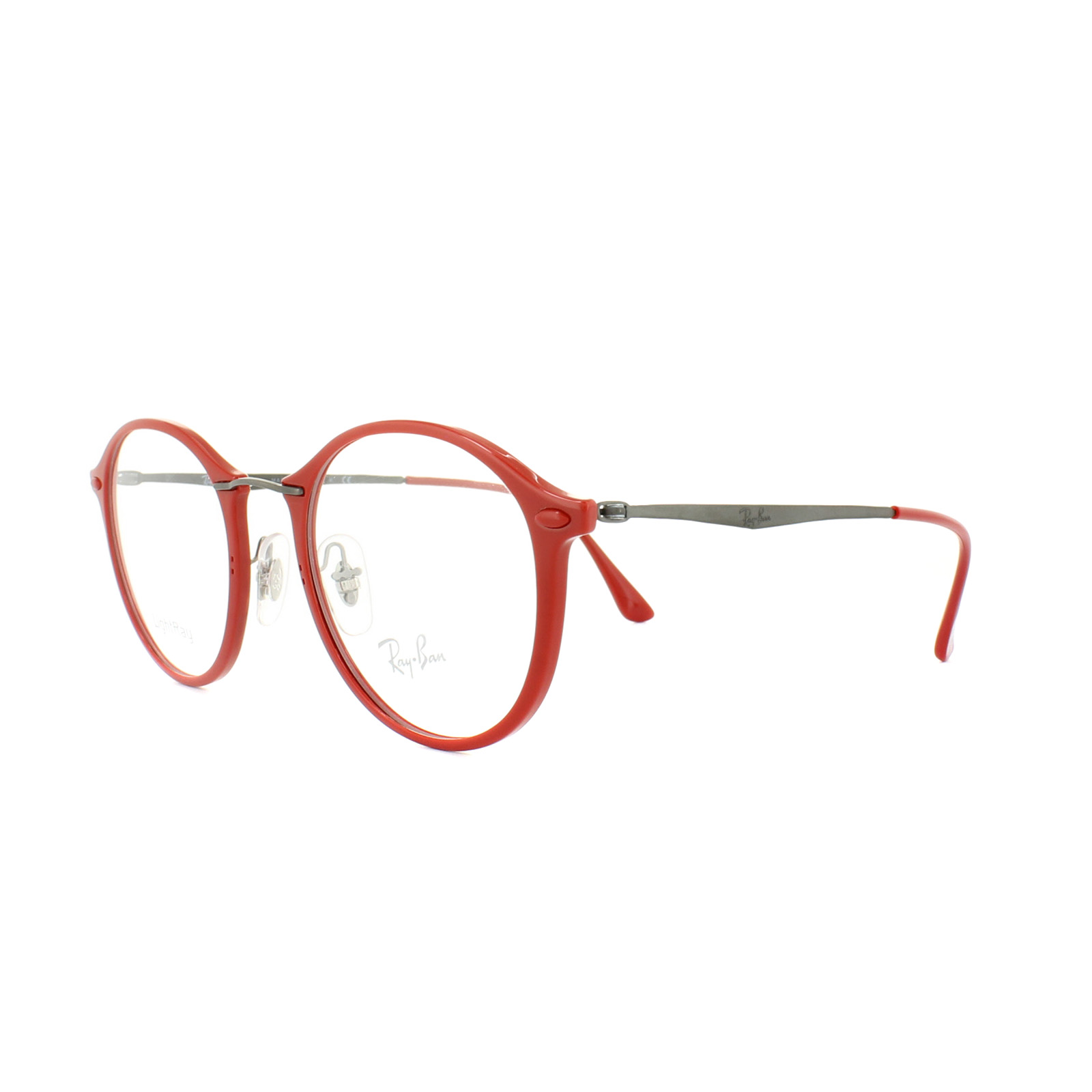 7c72fb28a5db17 Sentinel Ray-Ban Glasses Frames RX 7073 5619 Shiny Red Mens Womens 49mm