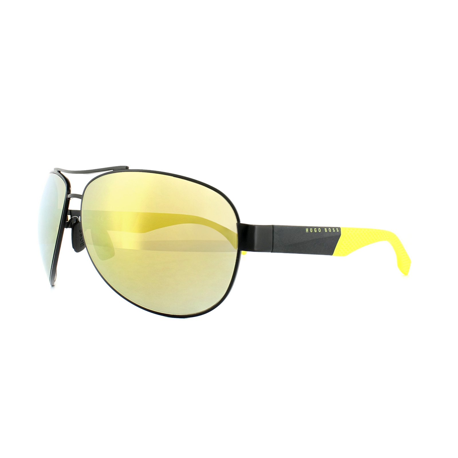 b960b3579 Details about Hugo Boss Sunglasses 0915 1Y3 C4 Matt Black & Yellow Yellow  Mirror Polarized