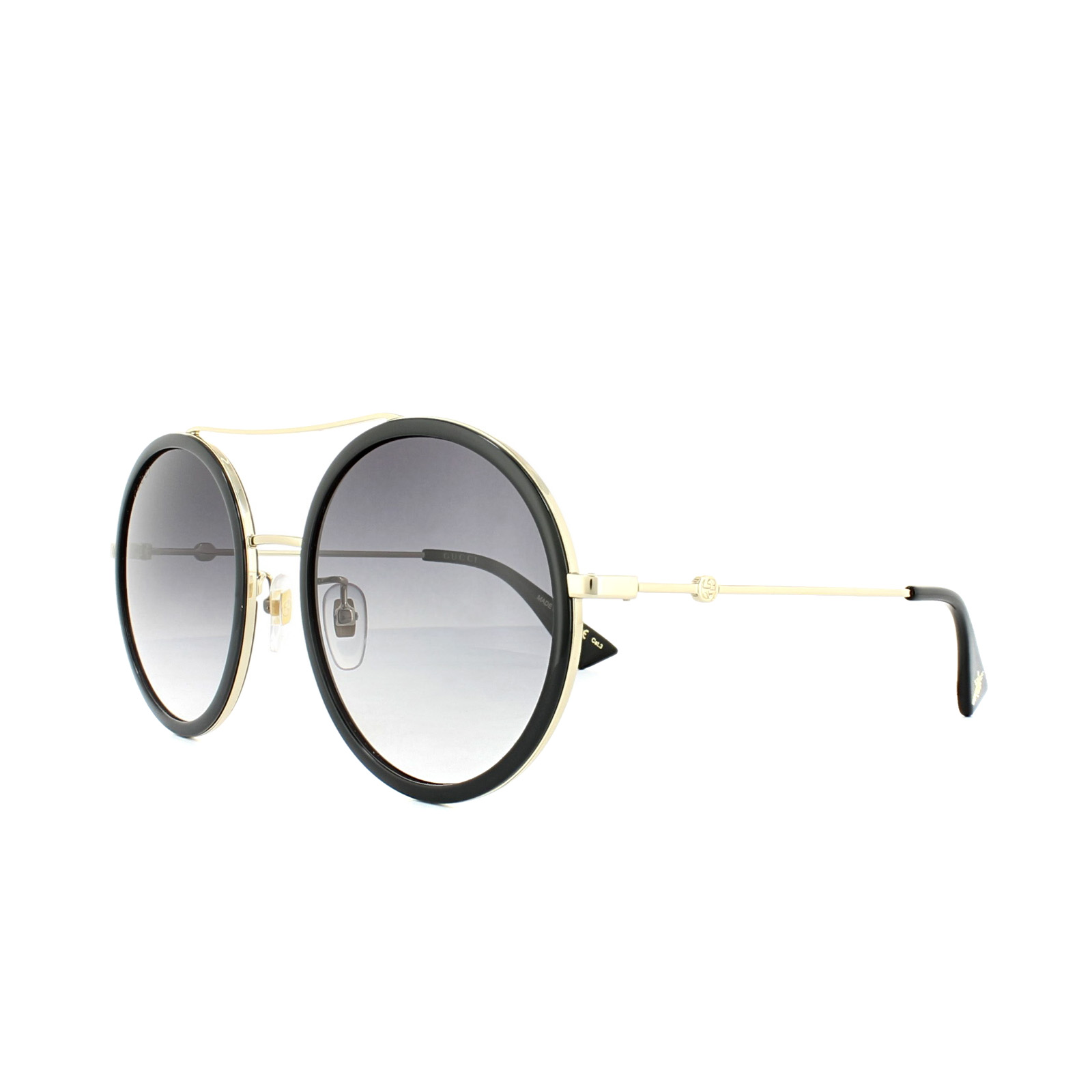 9bfe07a3ee Sentinel Gucci Sunglasses GG0061S 001 Black Gold Grey Gradient