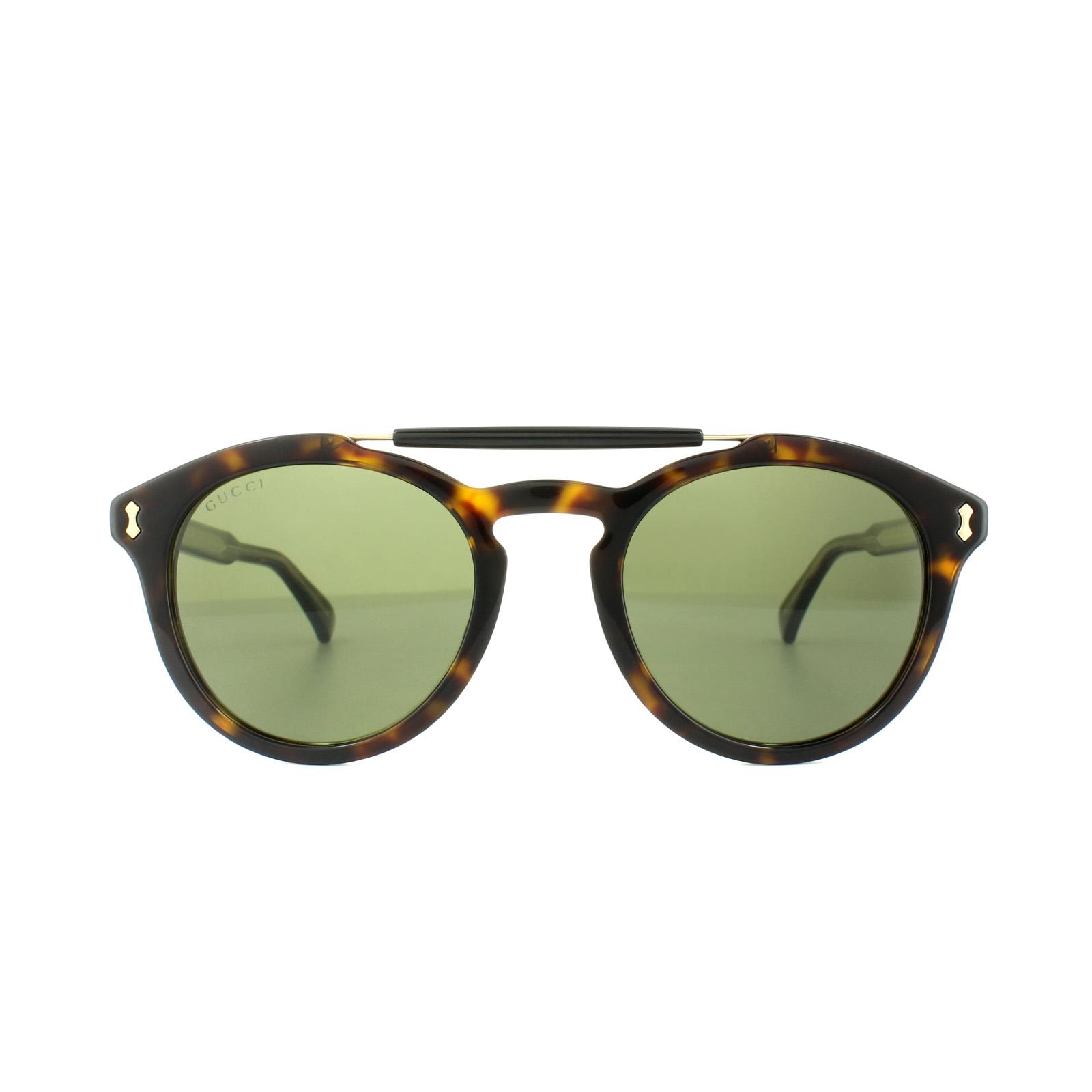Gucci Herren Sonnenbrille GG0124S 002, Braun (Avana/Green), 50