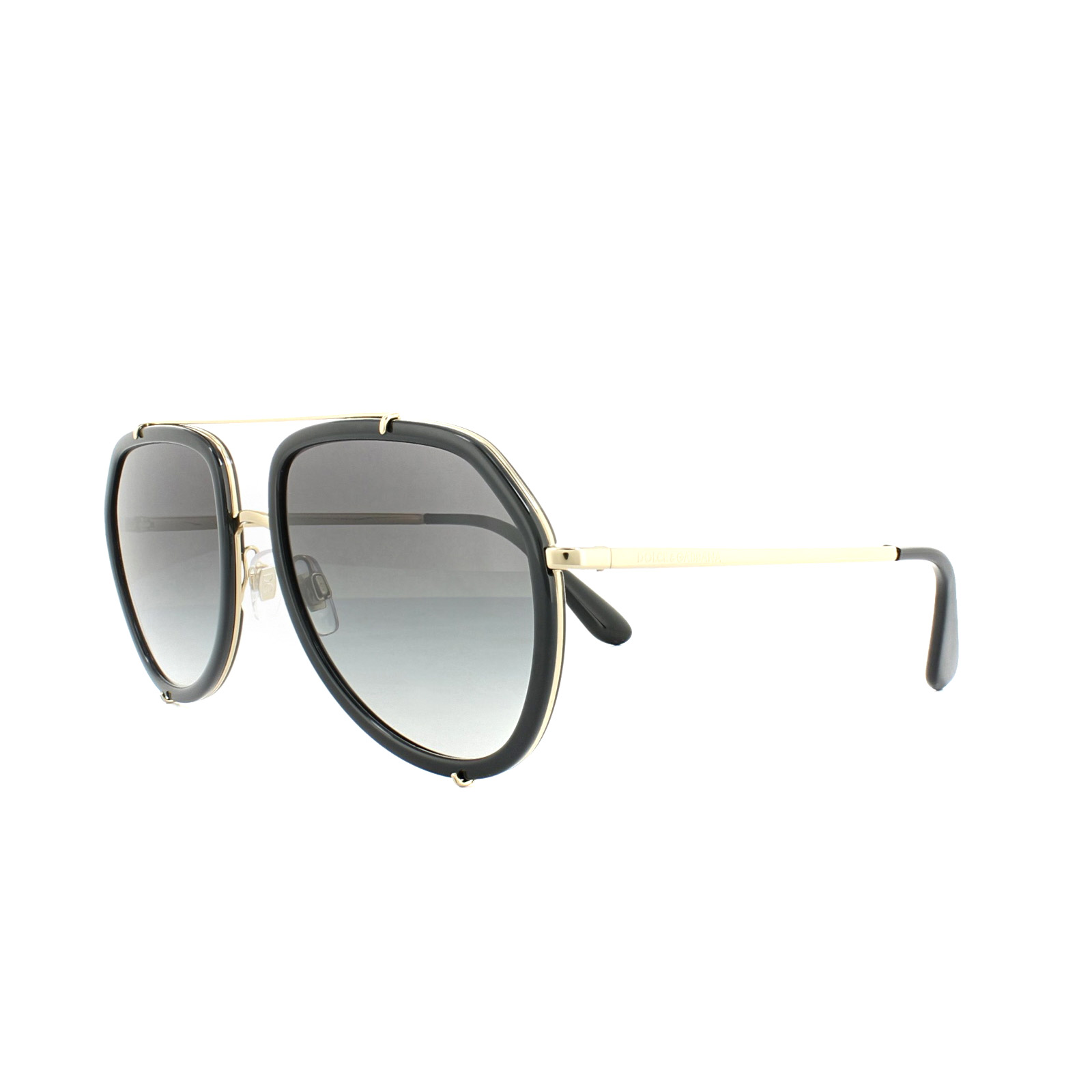 Sentinel Dolce and Gabbana Sunglasses 2161 02/8G Black Gold Grey Gradient