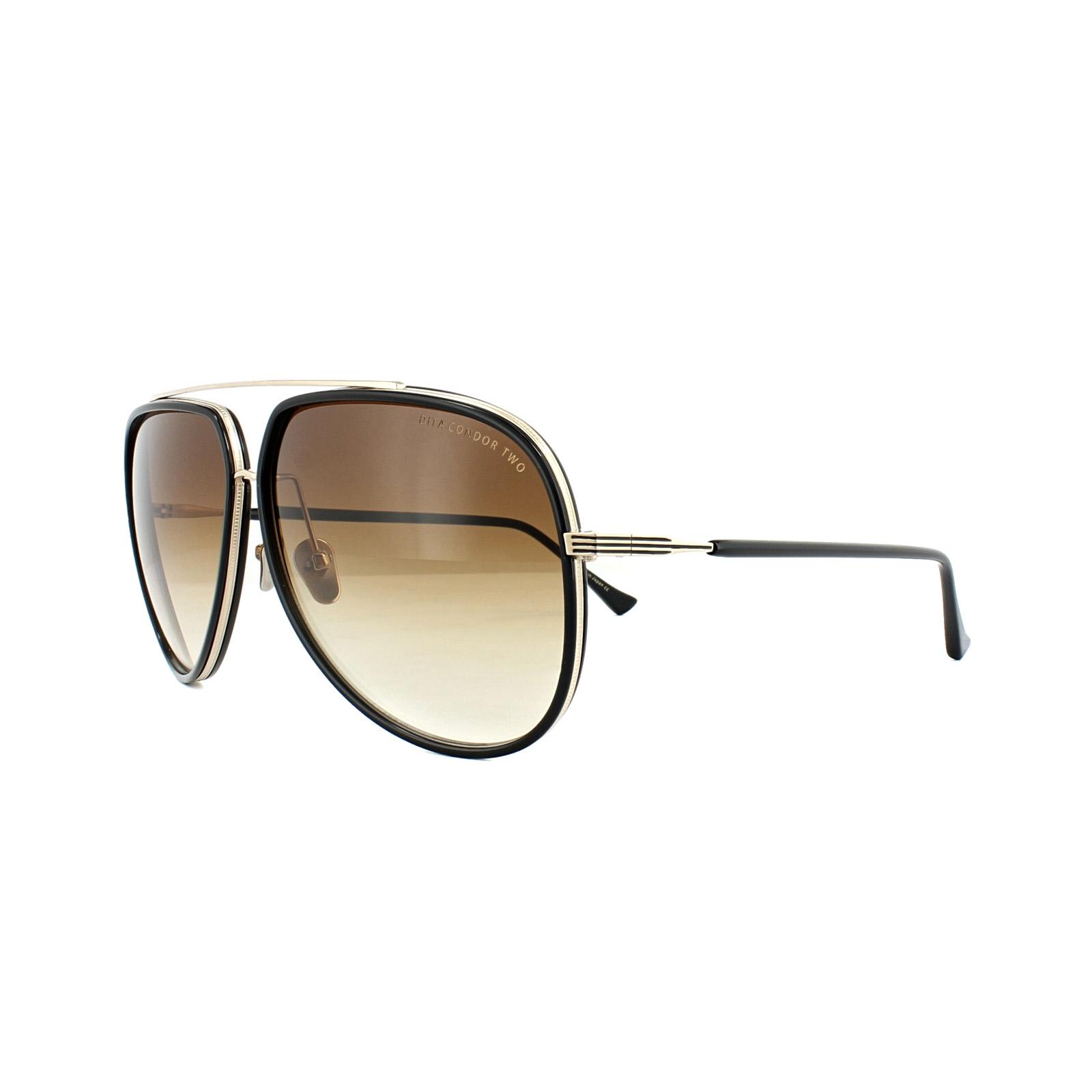 da77f648b30 Sentinel Dita Sunglasses Condor Two 21010-E-62 Black 12K Gold Brown Gradient