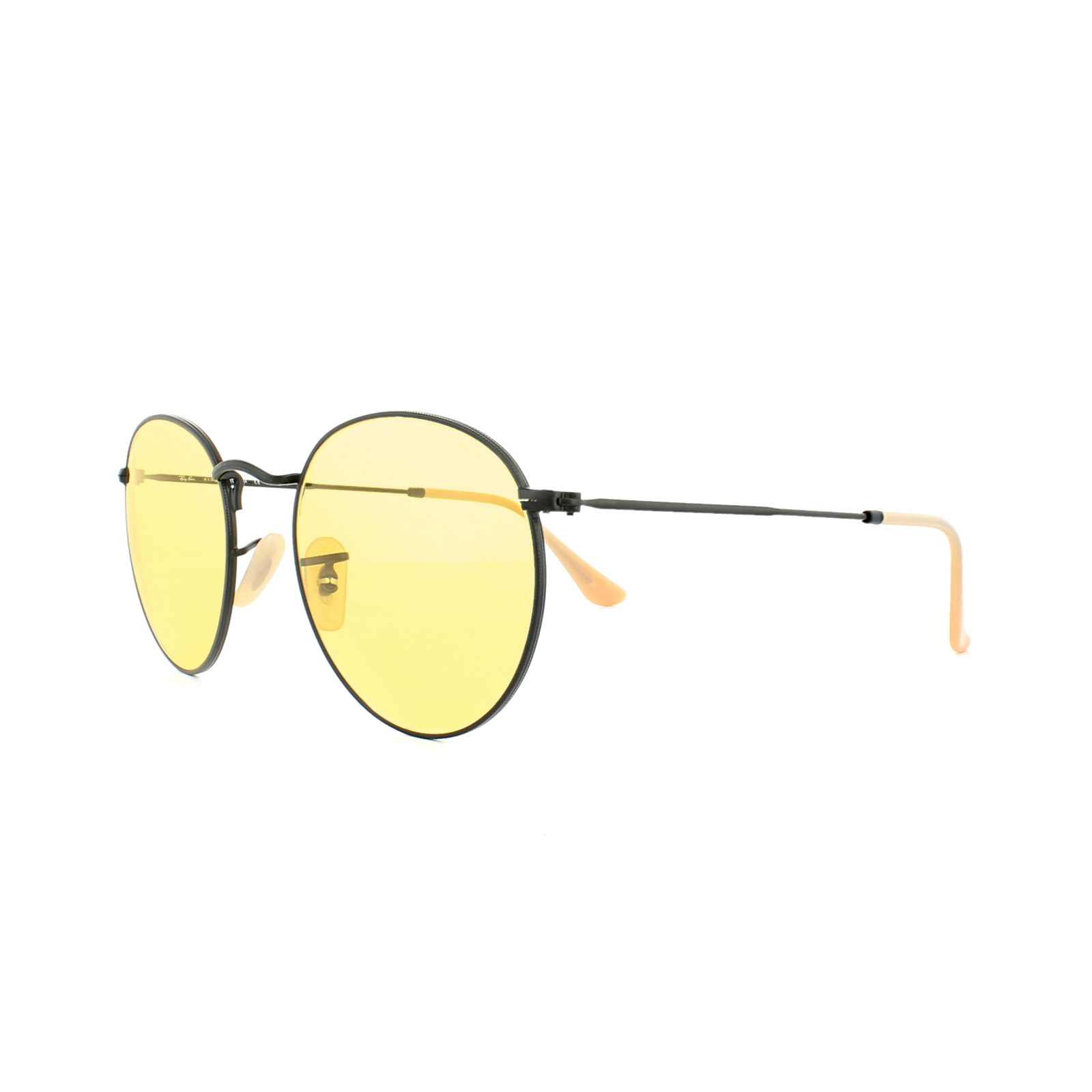 ed385b9f29 Sentinel Ray-Ban Sunglasses Round Metal 3447 90664A Black Yellow  Photochromic Medium 50mm