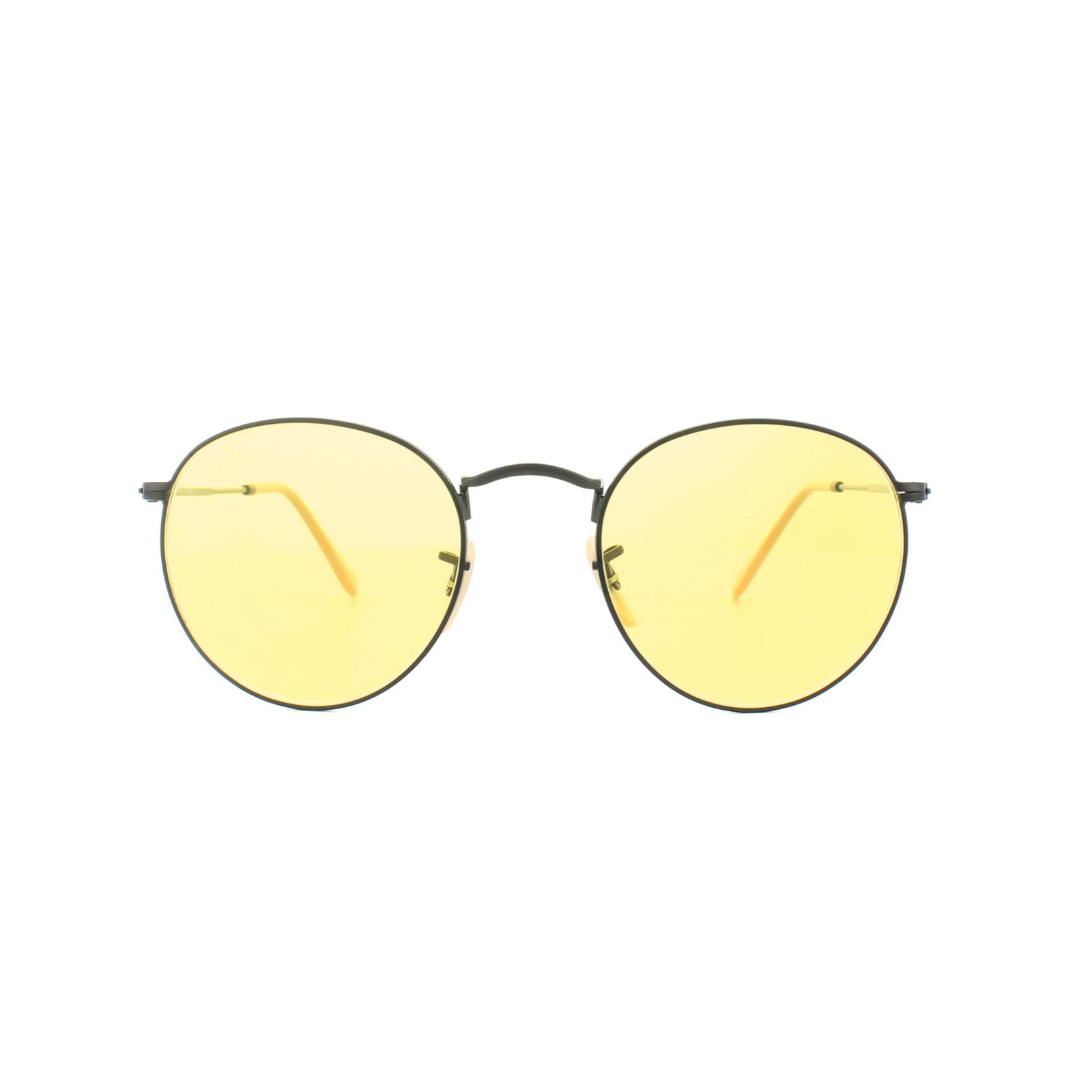 321d0866de4 Sentinel Ray-Ban Sunglasses Round Metal 3447 90664A Black Yellow  Photochromic Medium 50mm