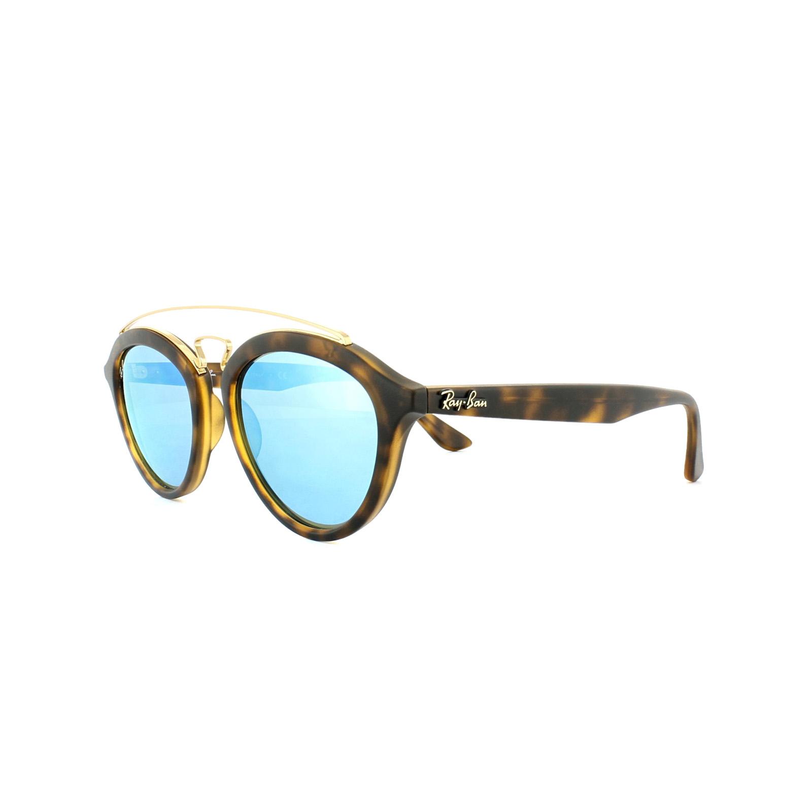 52a4e86087 Sentinel Ray-Ban Sunglasses New Gatsby 4257 609255 Matt Havana Blue Mirror  Small 50mm