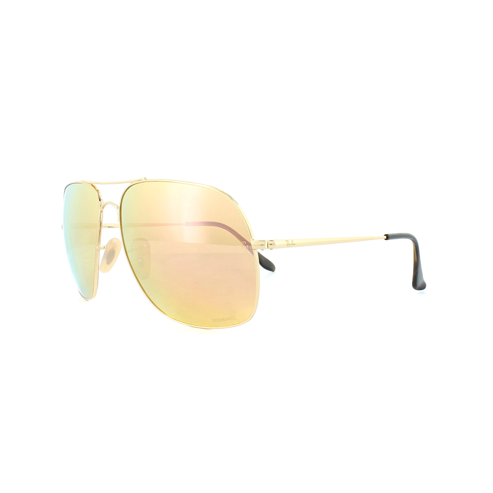 Large Square Chromance Aviator Sunglasses in Gold Pink Gold Mirror Polarised RB3587CH 001/I0 61 Ray-Ban wg5Q7Y