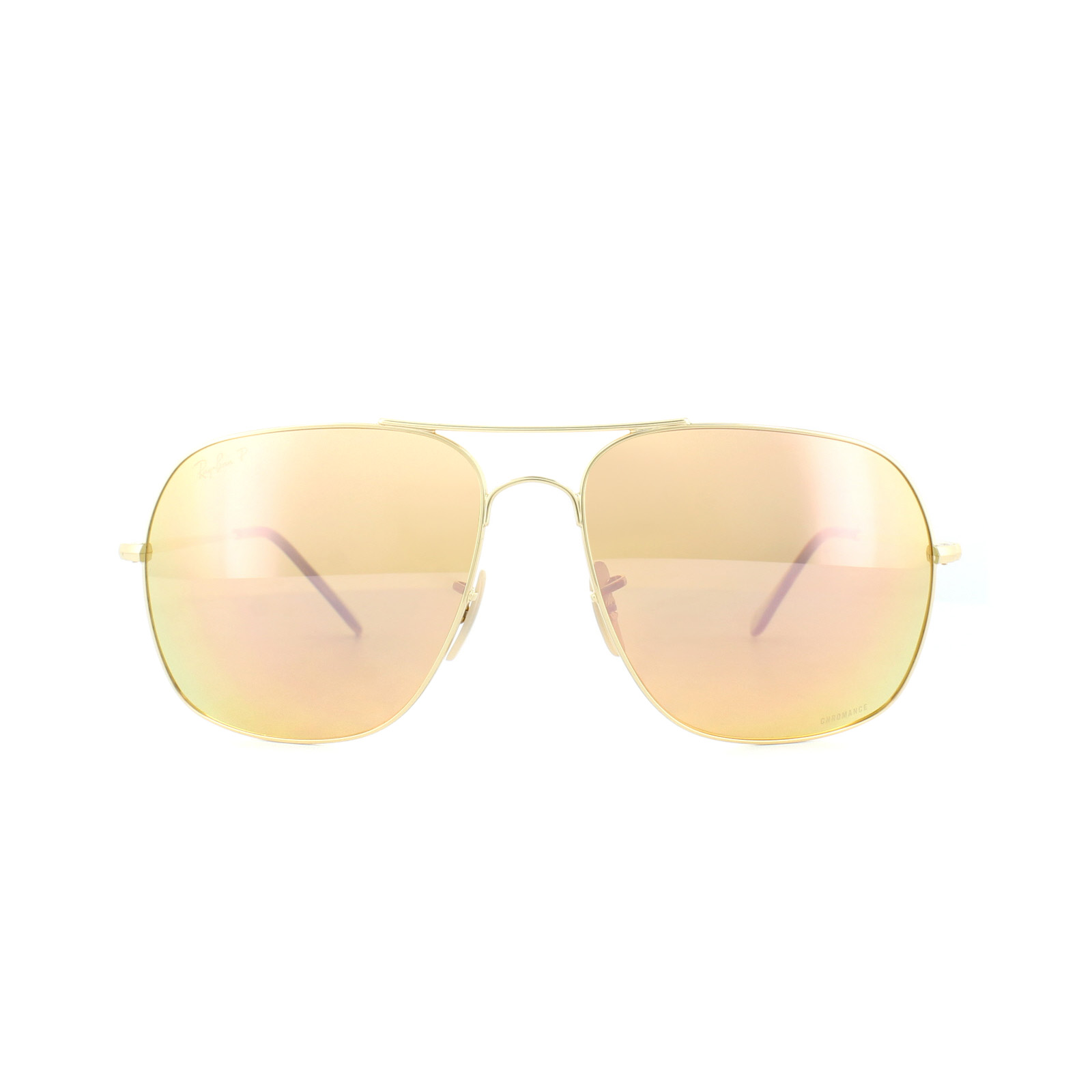 75bcd00e869 Sentinel Ray-Ban Sunglasses 3587CH 001 I0 Gold Polarized Pink Mirror  Chromance