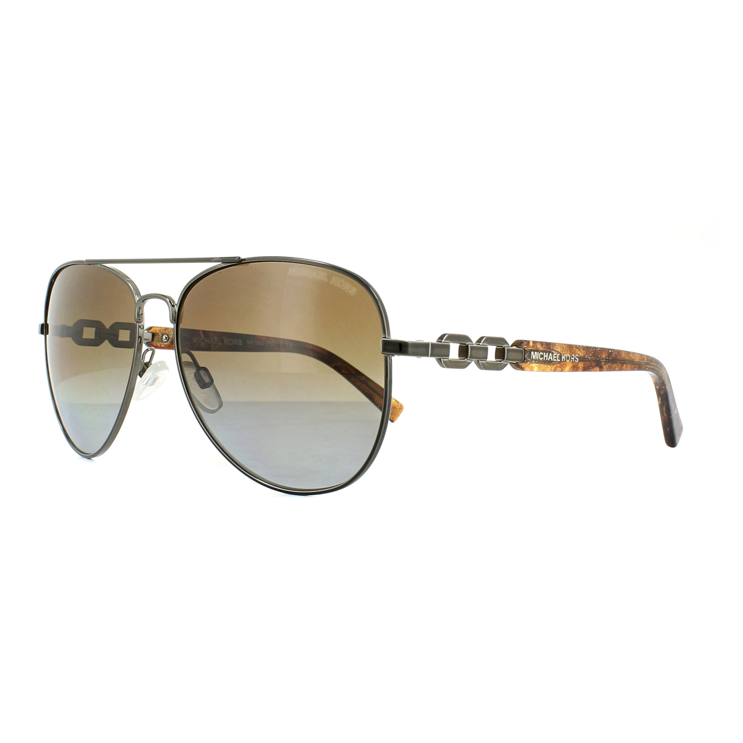 cf7c6548563 Sentinel Michael Kors Sunglasses Fiji 1003 1002T5 Gunmetal Brown Gradient  Polarized