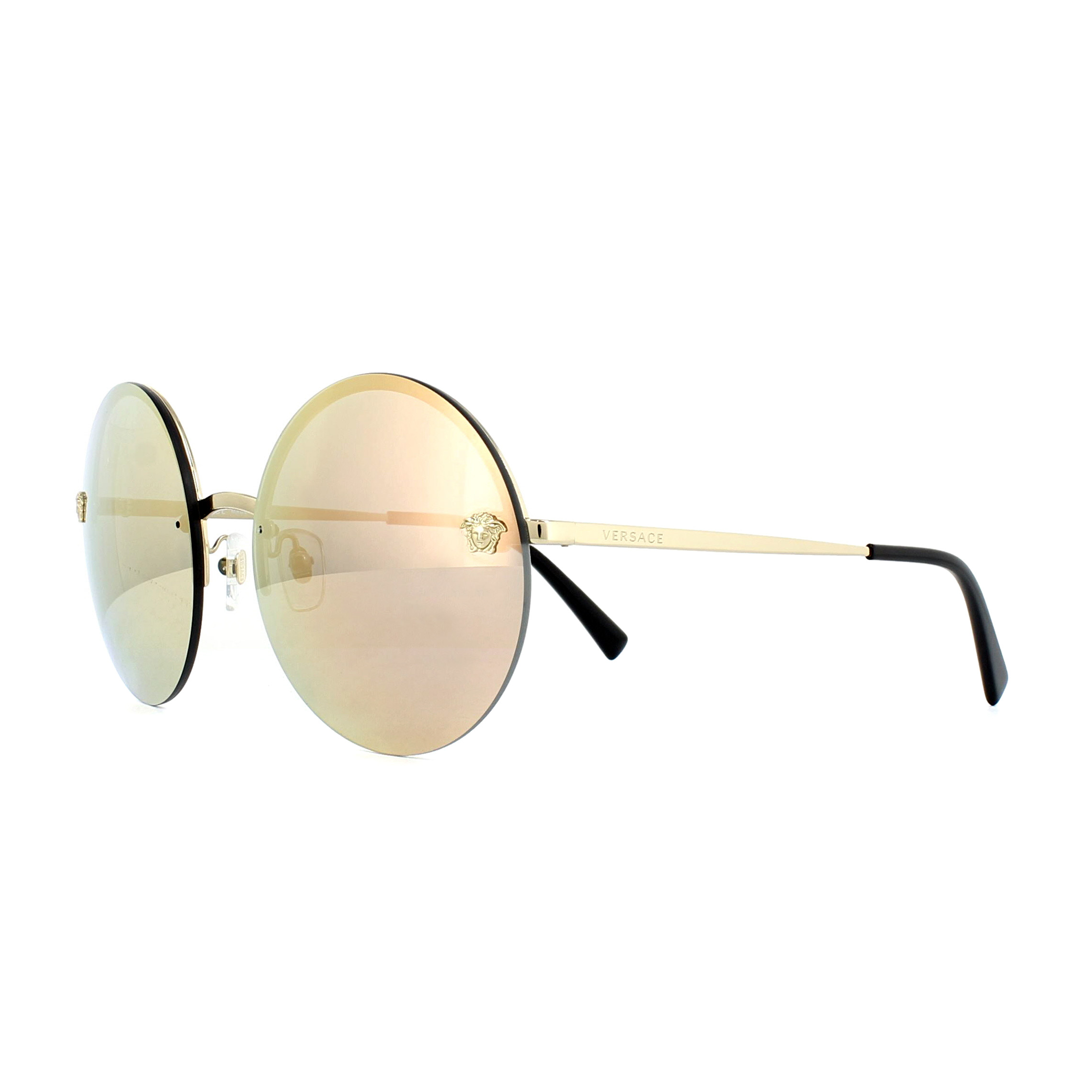 Sentinel Versace Sunglasses 2176 12524Z Pale Gold Grey Mirror Rose Gold