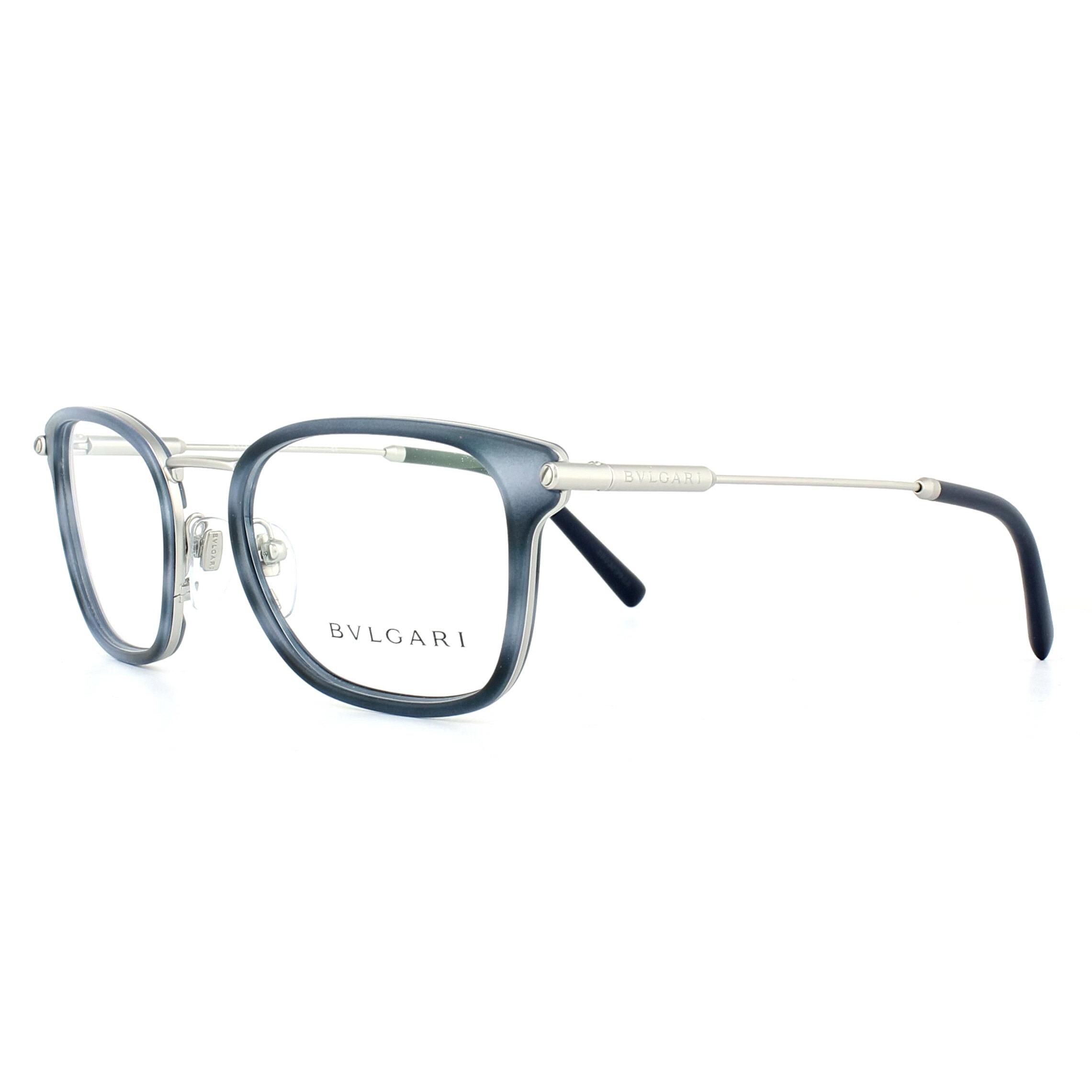 Bvlgari Glasses Frames 1095 400 Grey Blue Stripe & Matte Silver 51mm ...