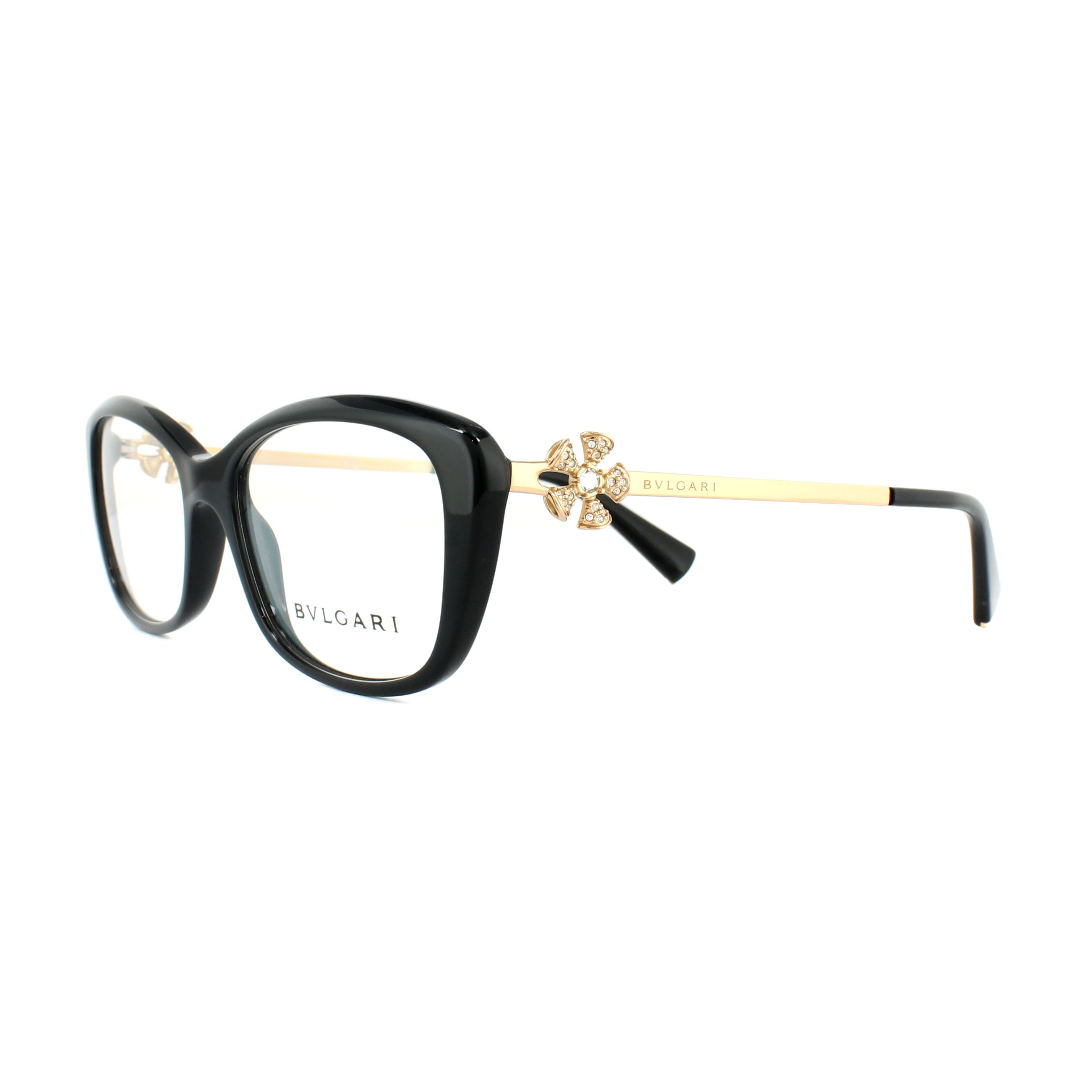 354acc851cf34 Sentinel Bvlgari Glasses Frames 4145B 501 Black Gold 53mm Womens