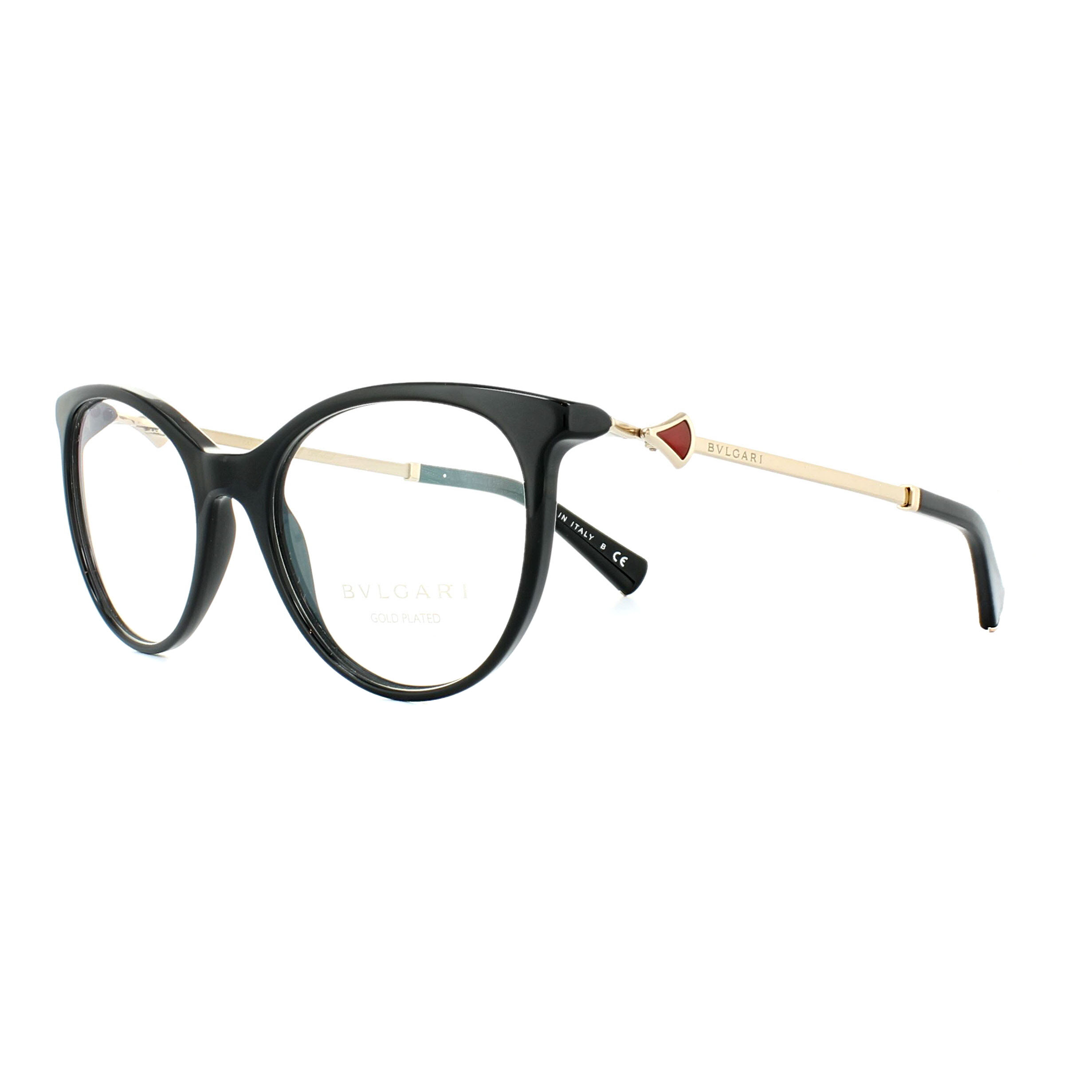 ae8c3eb9334 Sentinel Bvlgari Glasses Frames 4149KB 5195 Black Gold Red 54mm Womens