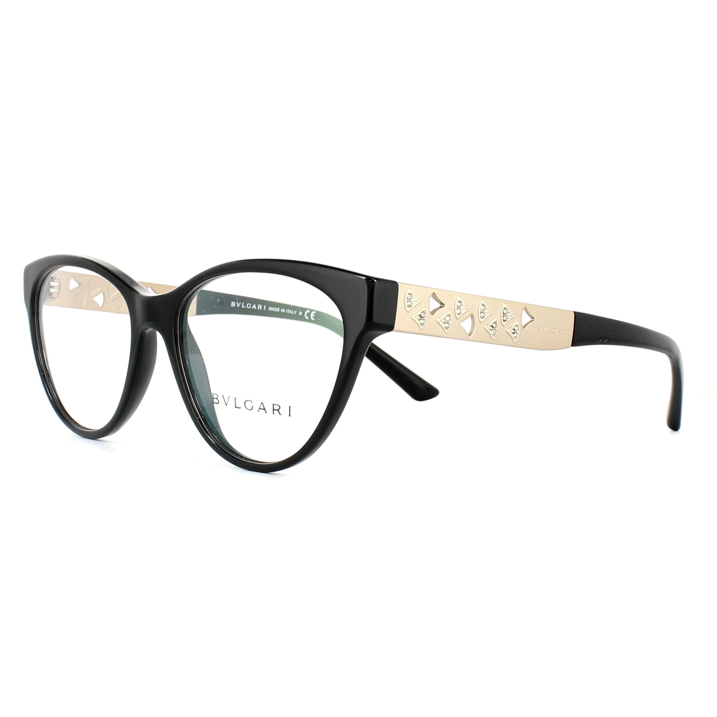 54bc95d615cb9 Sentinel Bvlgari Glasses Frames 4154B 501 Black Rose Gold 52mm Womens