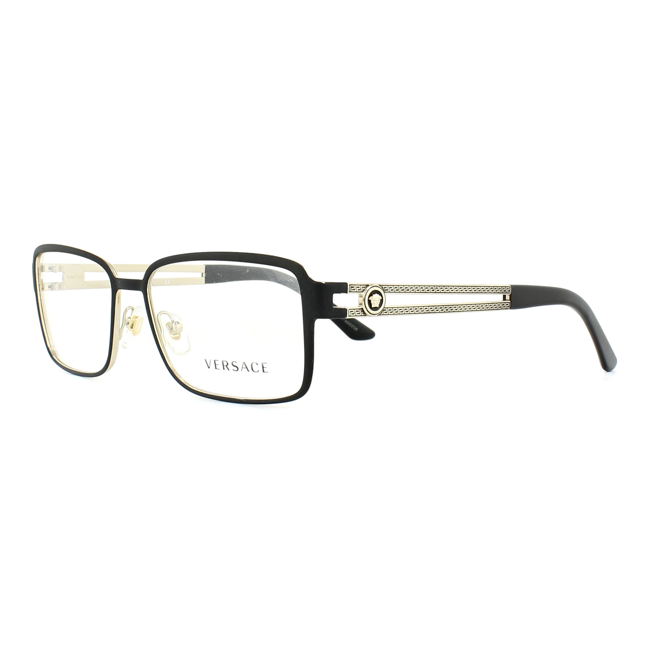 Versace Glasses Frames 1236 1377 Matte Black and Pale Gold 55mm Mens ...