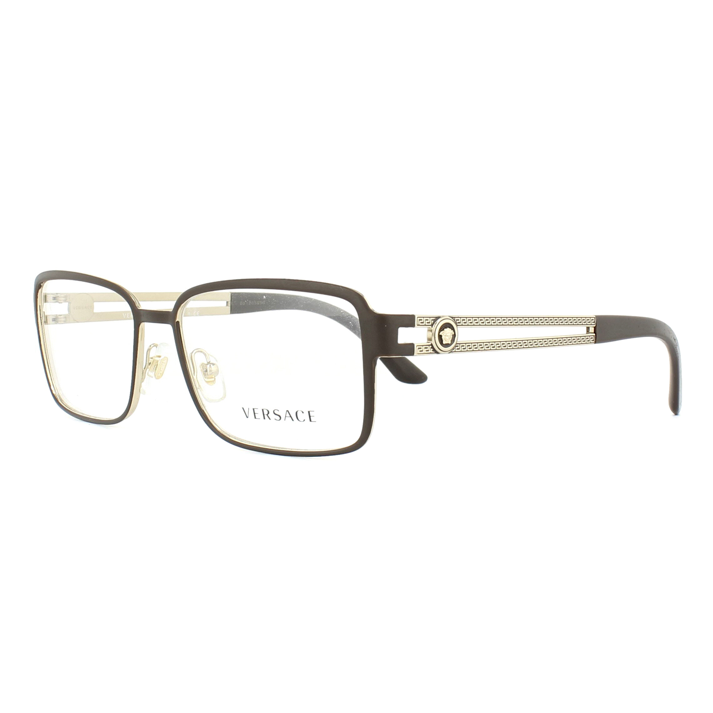 Versace Glasses Frames 1236 1378 Matte Brown and Pale Gold 55mm Mens ...