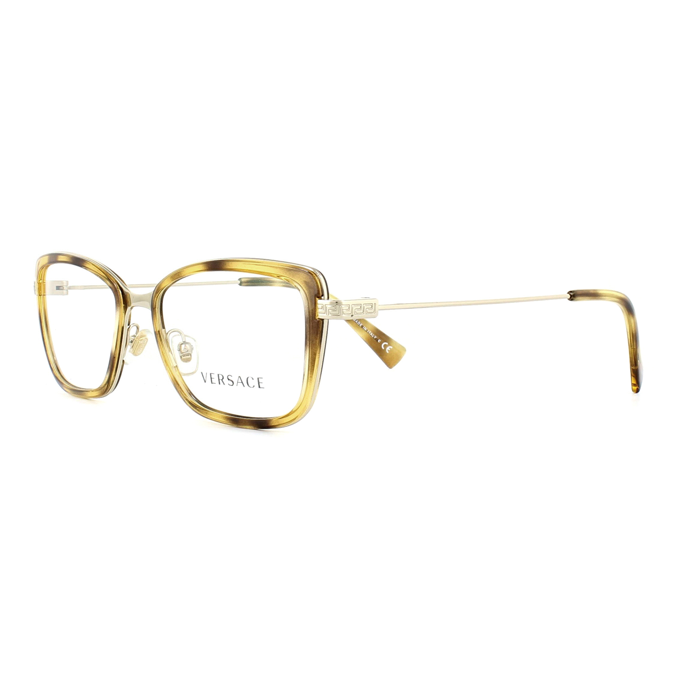 Versace Glasses Frames 1243 1400 Havana and Pale Gold 52mm Womens ...