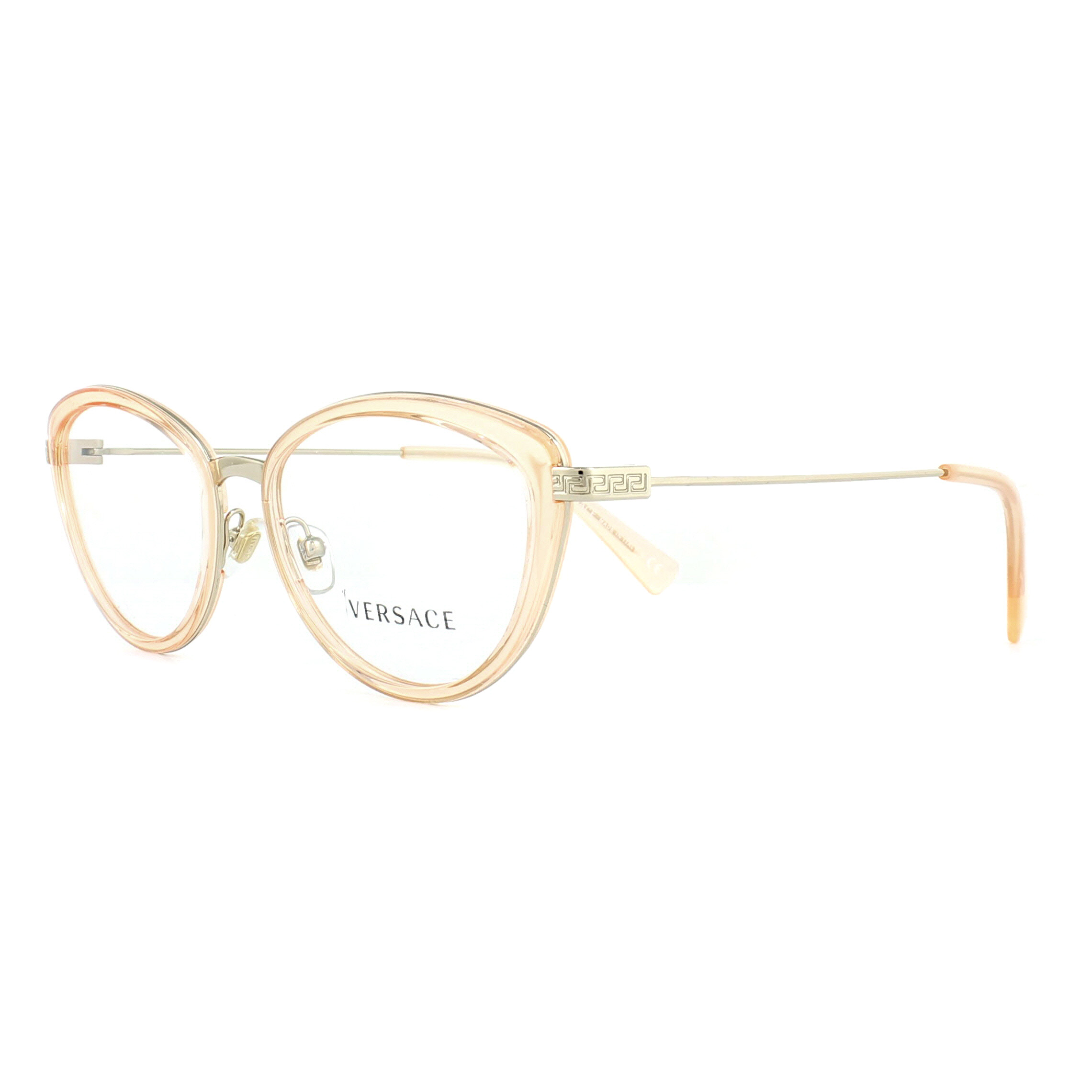 Versace Glasses Frames 1244 1406 Orange Transparent and Pale Gold ...
