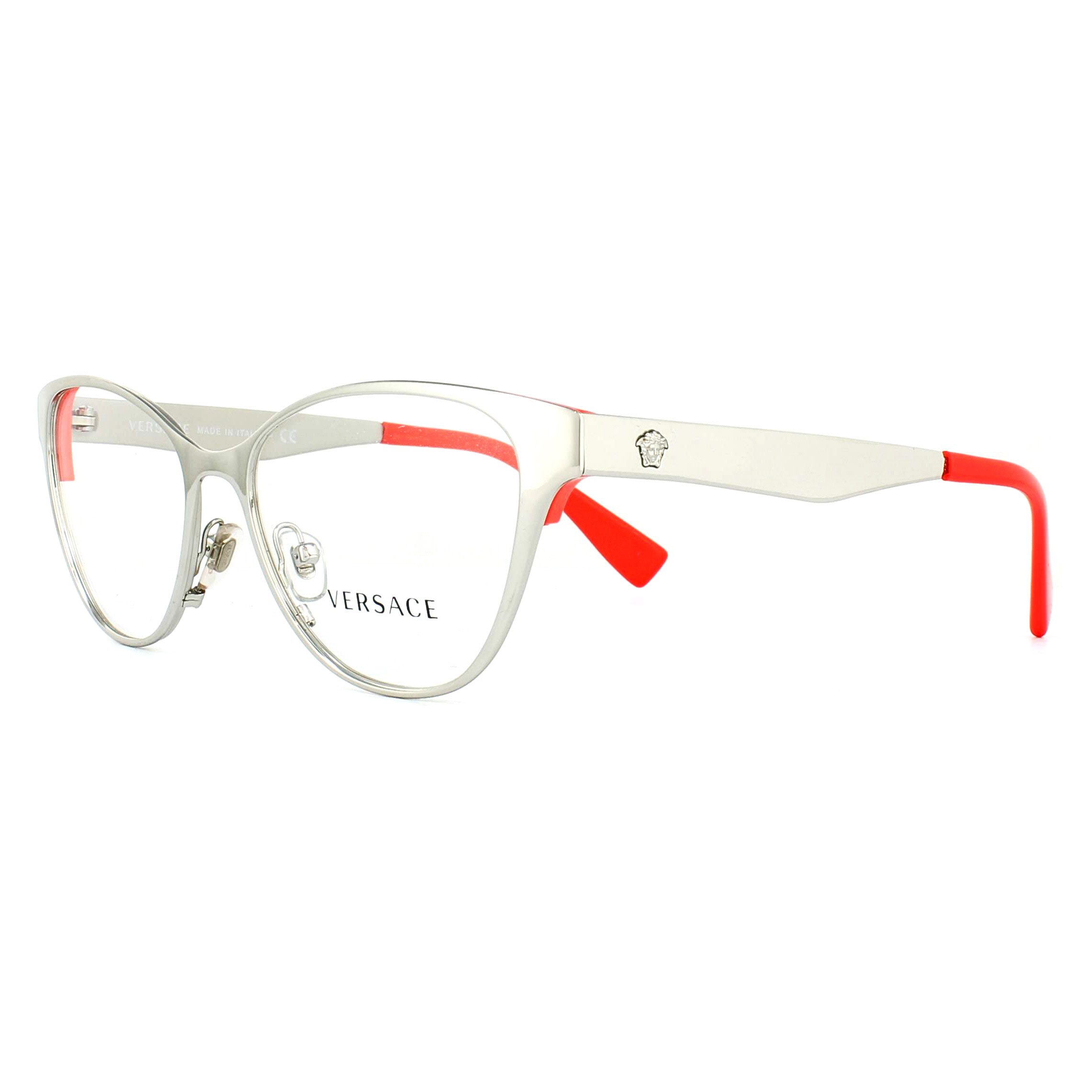 ce1c14e329 Sentinel Versace Glasses Frames 1245 1000 Silver and Red 53mm Womens