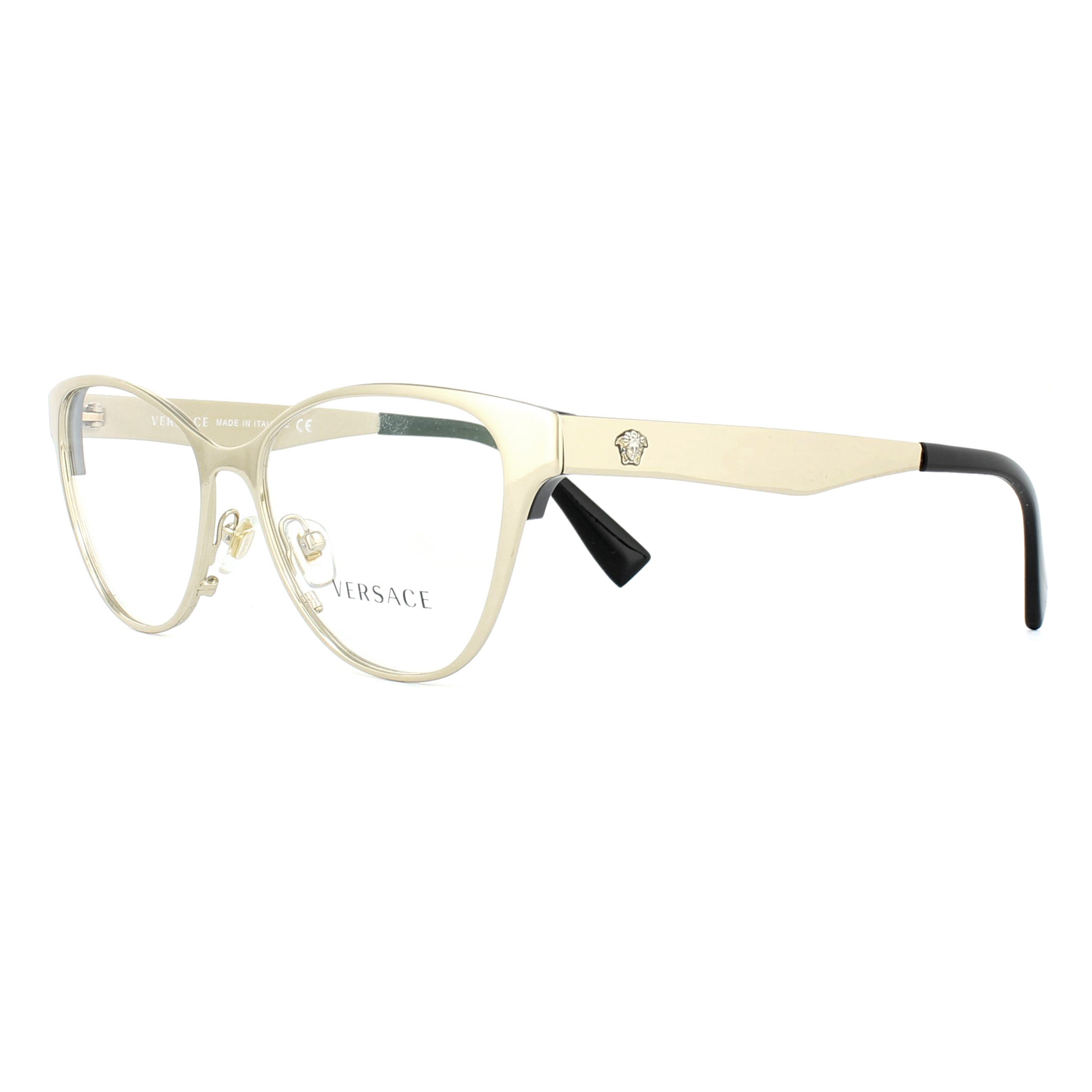 Versace Glasses Frames 1245 1252 Pale Gold and Black 53mm Womens ...