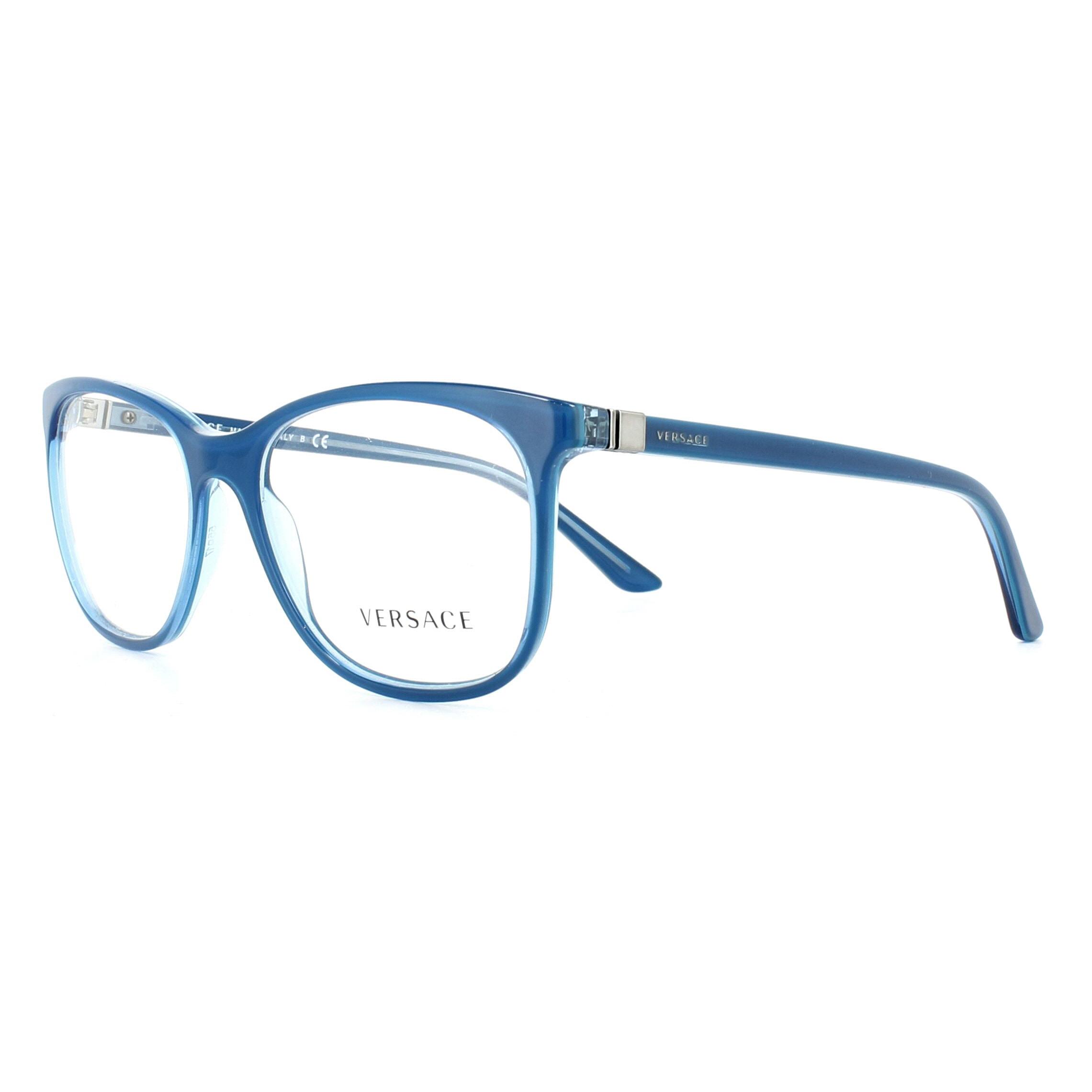 84a234f71070 Sentinel Versace Glasses Frames 3187 5056 Blue Transparent Azure 55mm Womens