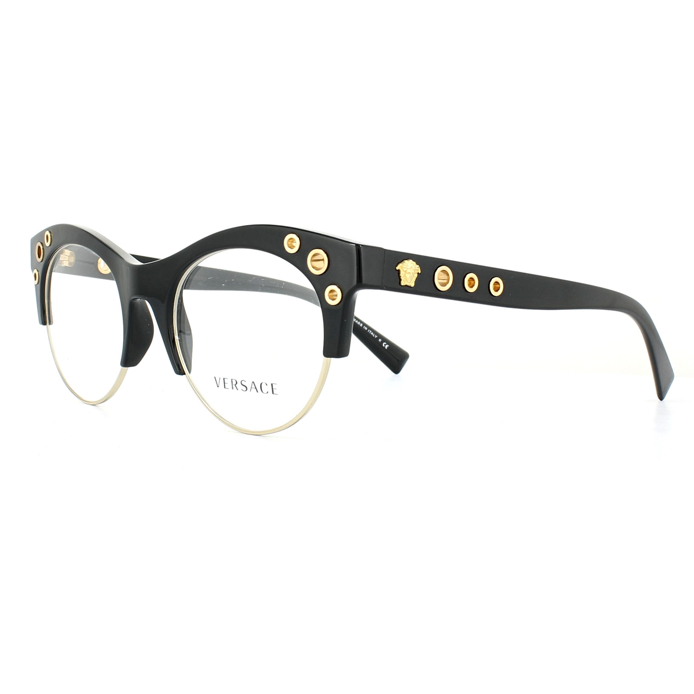 c9b35caa600 Sentinel Versace Glasses Frames 3232 GB1 Black Gold 52mm Womens