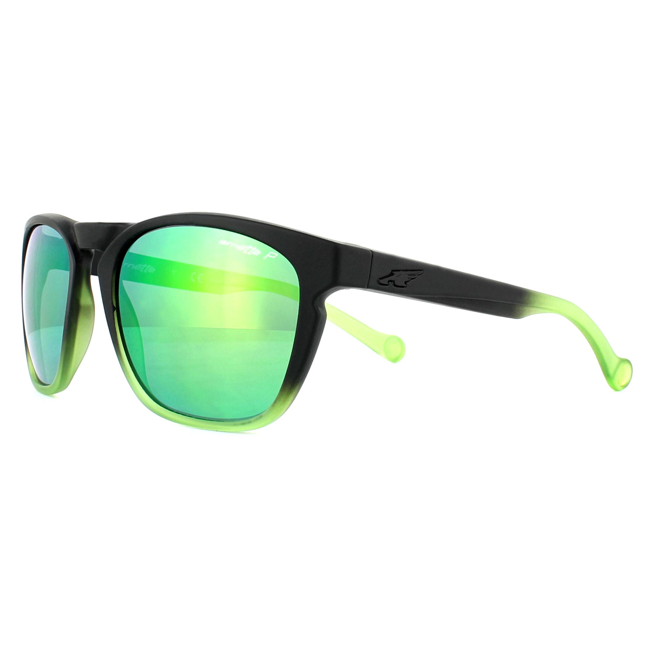 Arnette AN 4207 01//1L Polarized Boiler Fuzzy Black w// Green Mirror Sunglasses