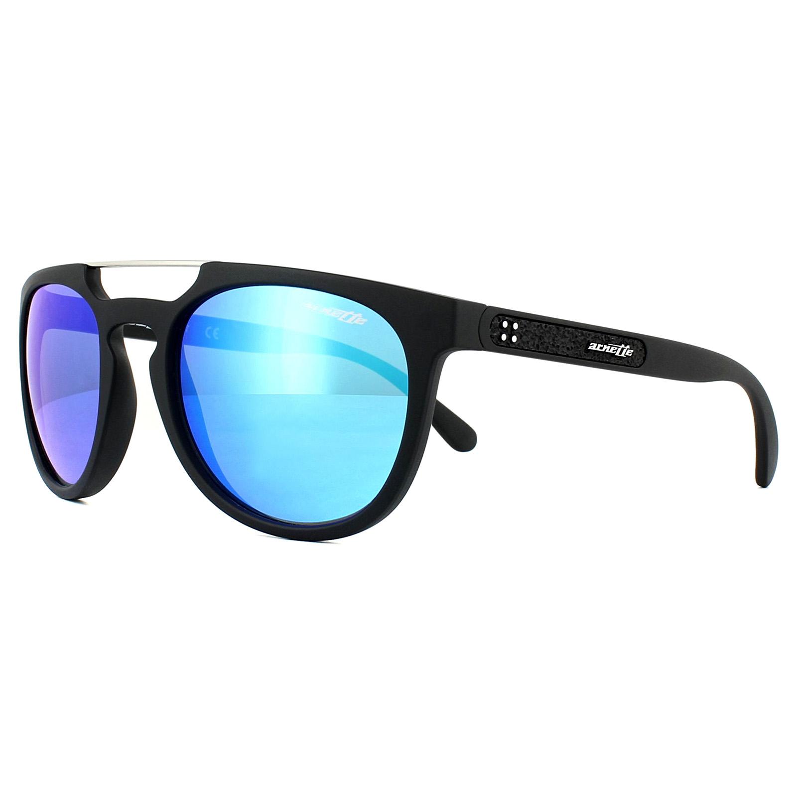 e01d10f6696 Sentinel Arnette Sunglasses Woodward 4237 01 25 Matt Black Blue Mirror
