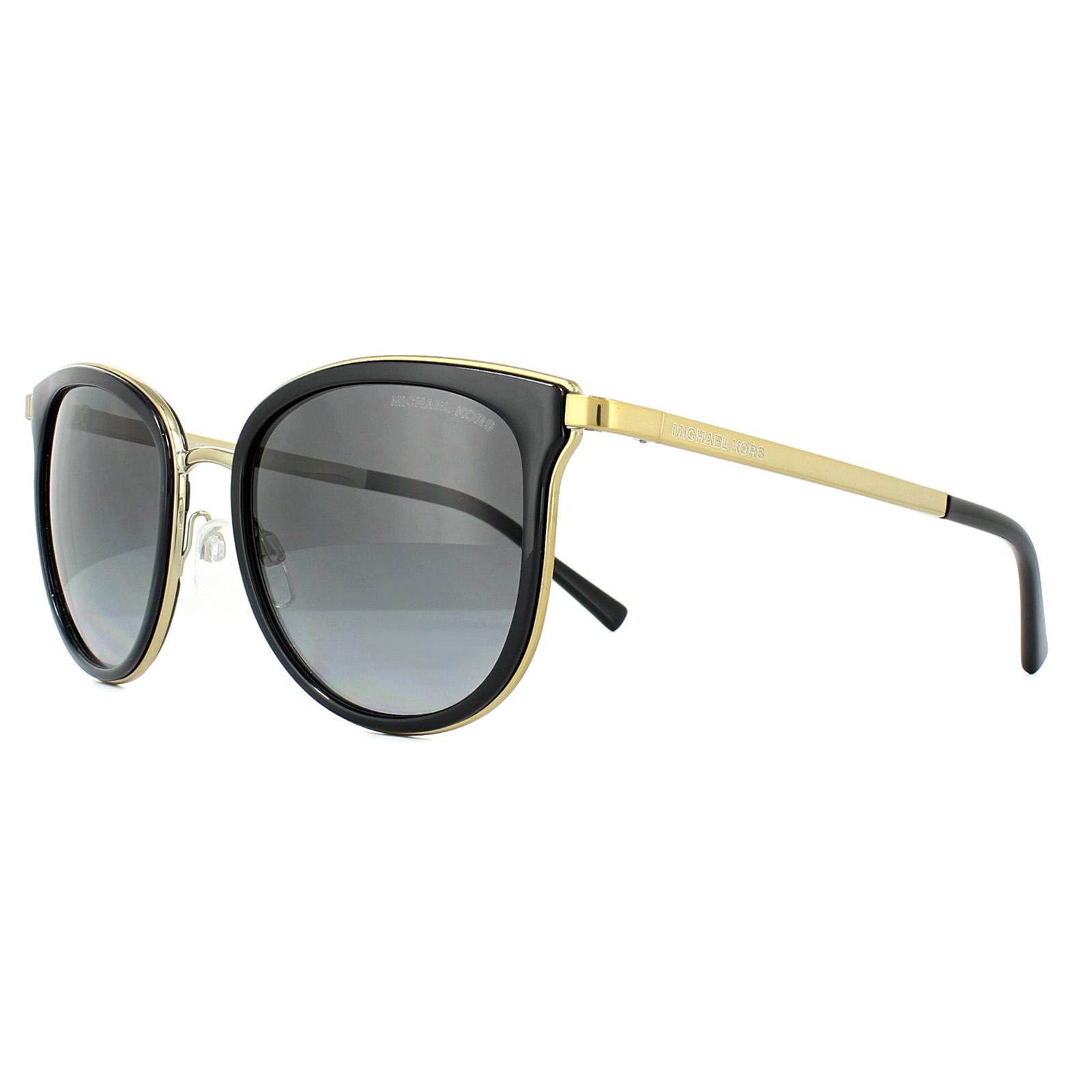 fb1b277bdb6 Sentinel Michael Kors Sunglasses Adrianna 1 1010 1100T3 Black Gold Grey  Shaded Polarized