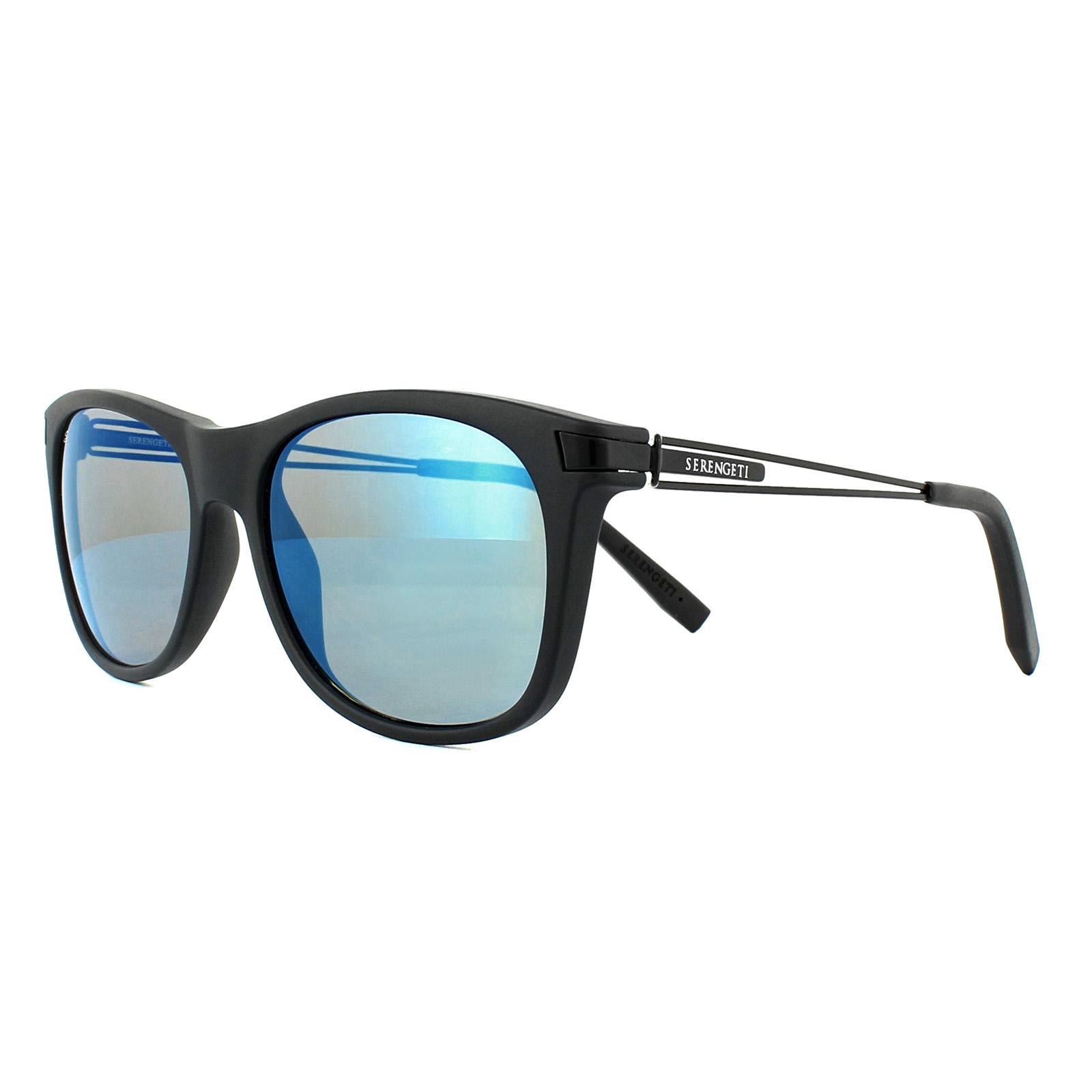 5affd173ae Sentinel Serengeti Sunglasses Pavia 8203 Satin Black 555nm Blue Mirror  Polarized