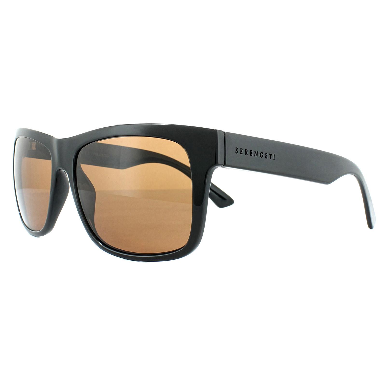 d77f36e448f Sentinel Serengeti Sunglasses Positano 8369 Shiny Black Drivers Brown  Polarized