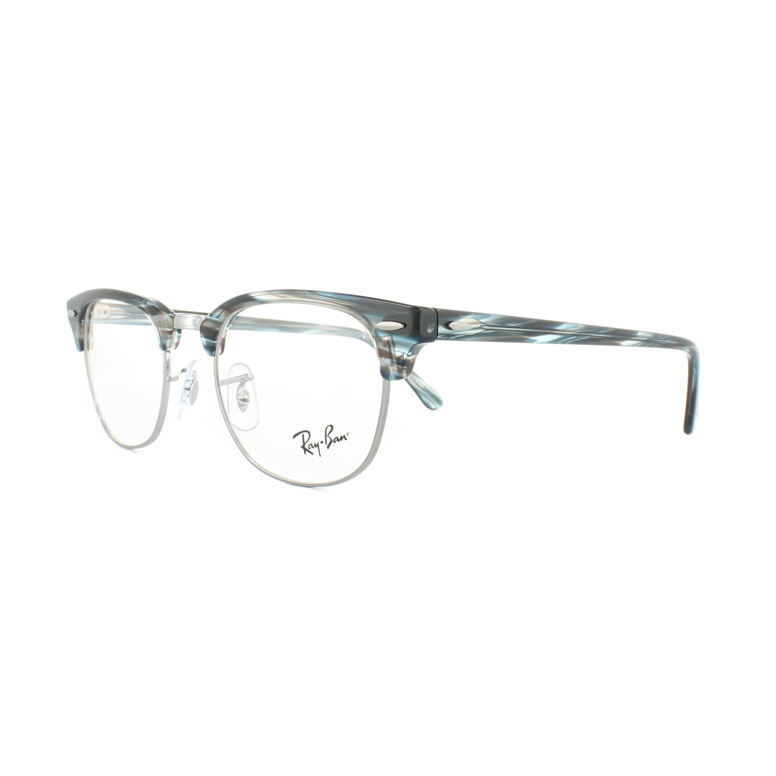62ace15491 Sentinel Ray-Ban Glasses Frames 5154 Clubmaster 5750 Blue Grey Striped 51mm  Mens Womens