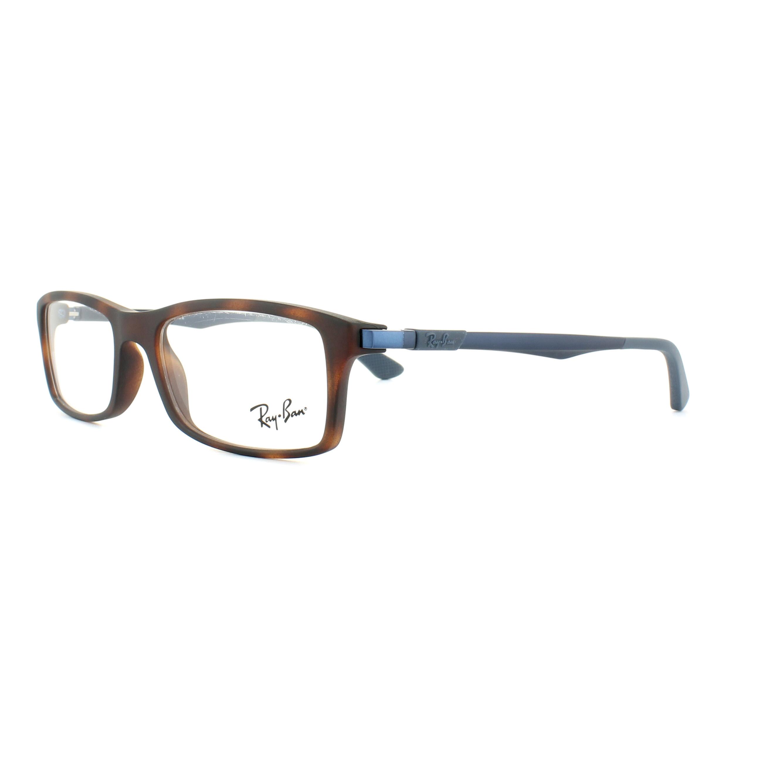 3e687a59ecf Sentinel Ray-Ban Glasses Frames 7017 5574 Matt Red Havana Blue 52mm Mens
