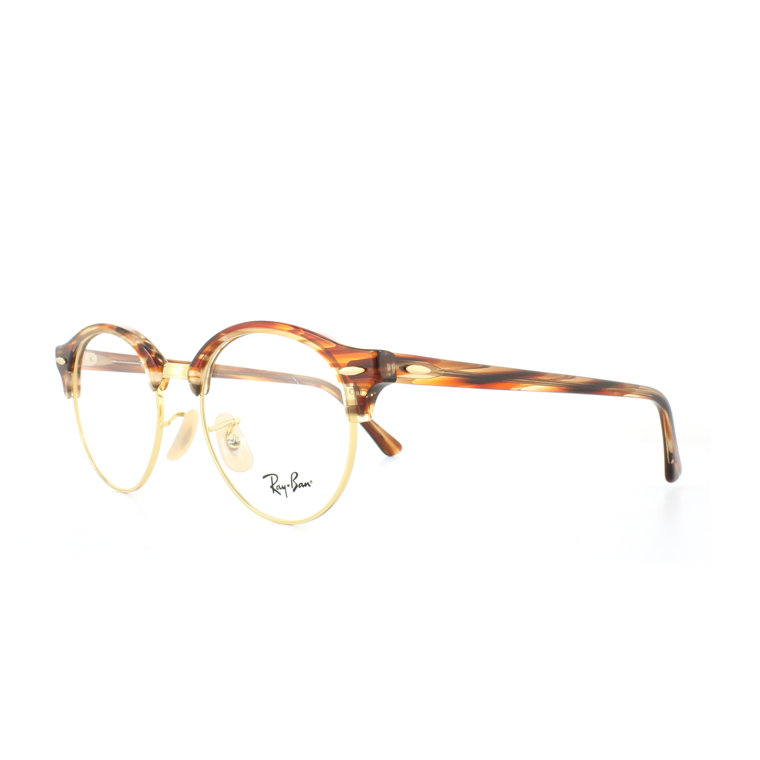 98b8b208e77 Sentinel Ray-Ban Glasses Frames 4246V Clubround 5751 Brown Beige Striped  49mm Mens Womens
