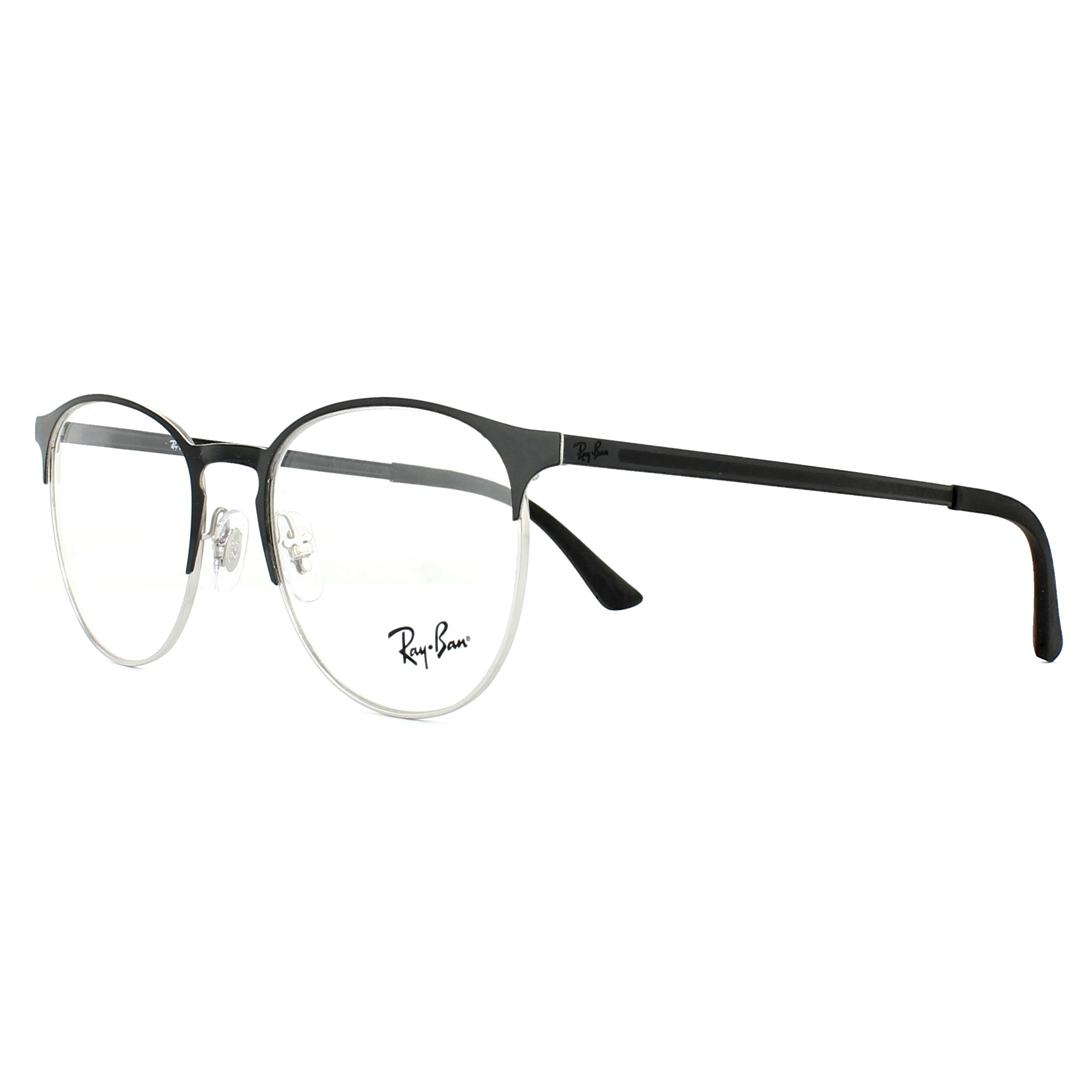 Ray-Ban Glasses Frames 6375 2861 Silver on Top Black 51mm ...