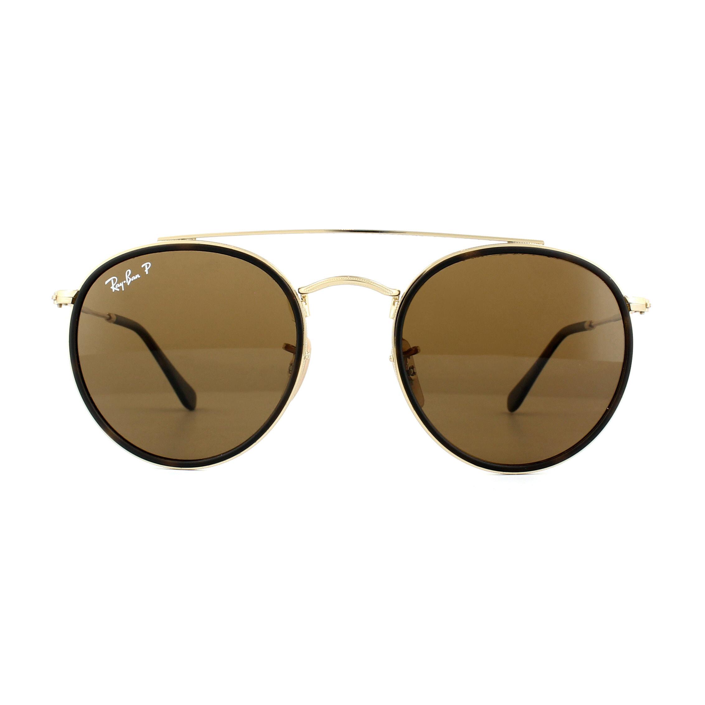 3015ab0ae70 Sentinel Ray-Ban Sunglasses Round Double Bridge 3647N 001 57 Gold Brown B-15