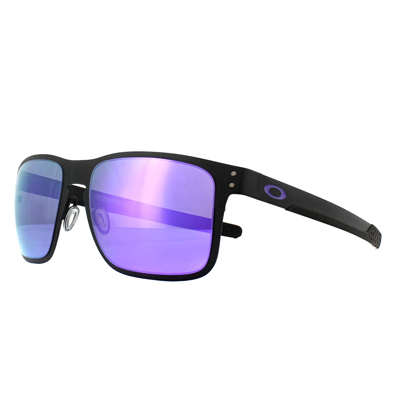 6a686bd87d3 Details about Oakley Sunglasses Holbrook Metal OO4123-14 Matt Black Violet  Iridium