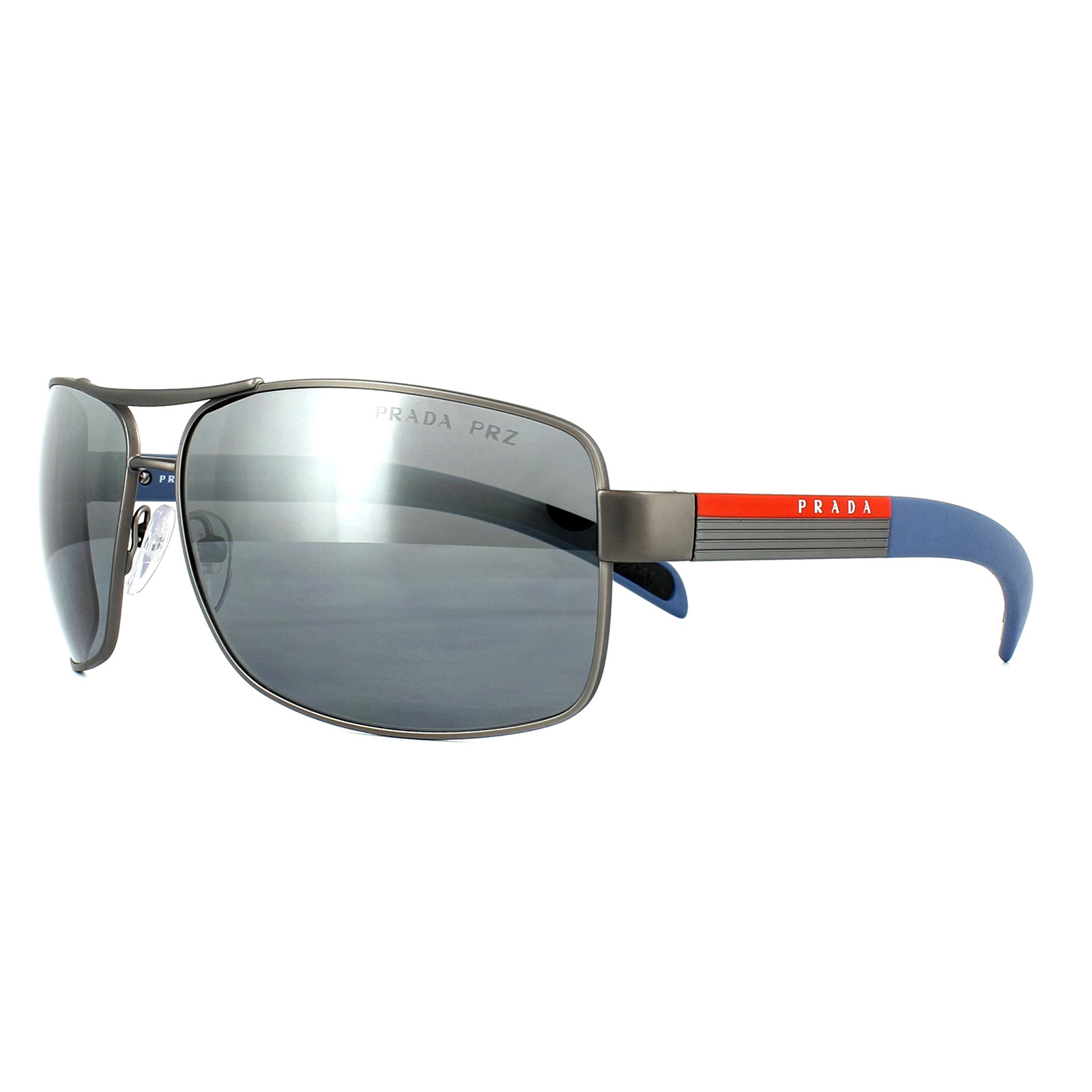 0547b93c3b Sentinel Prada Sport Sunglasses 54IS DG12F2 Gunmetal Rubber Silver Mirror  Polarized