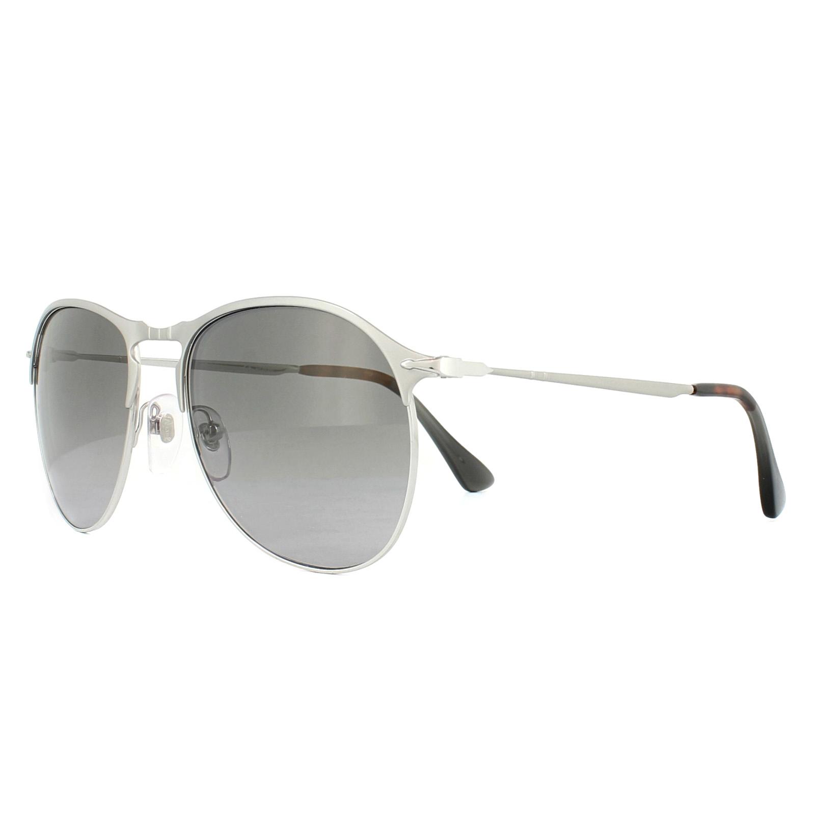 d0a63dbd28 Sentinel Persol Sunglasses 7649S 1068M3 Matt Silver Green Gradient Polarized